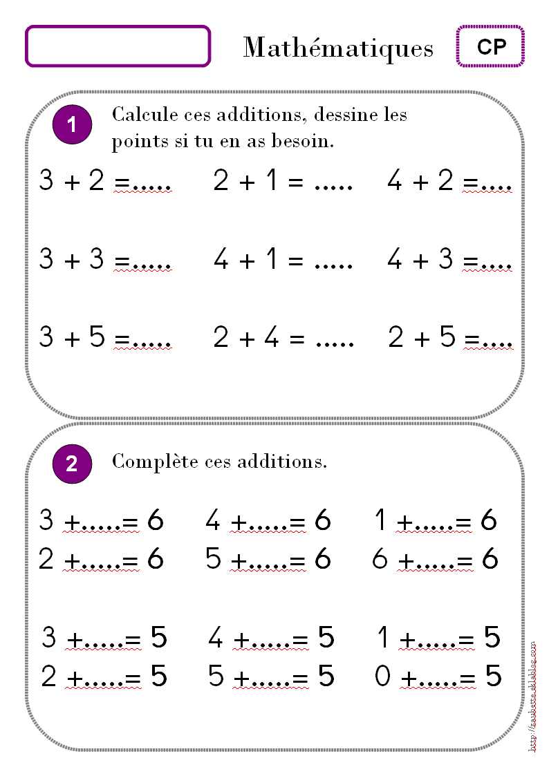 Maths Cp - Zaubette encequiconcerne Exercice Cp A Imprimer