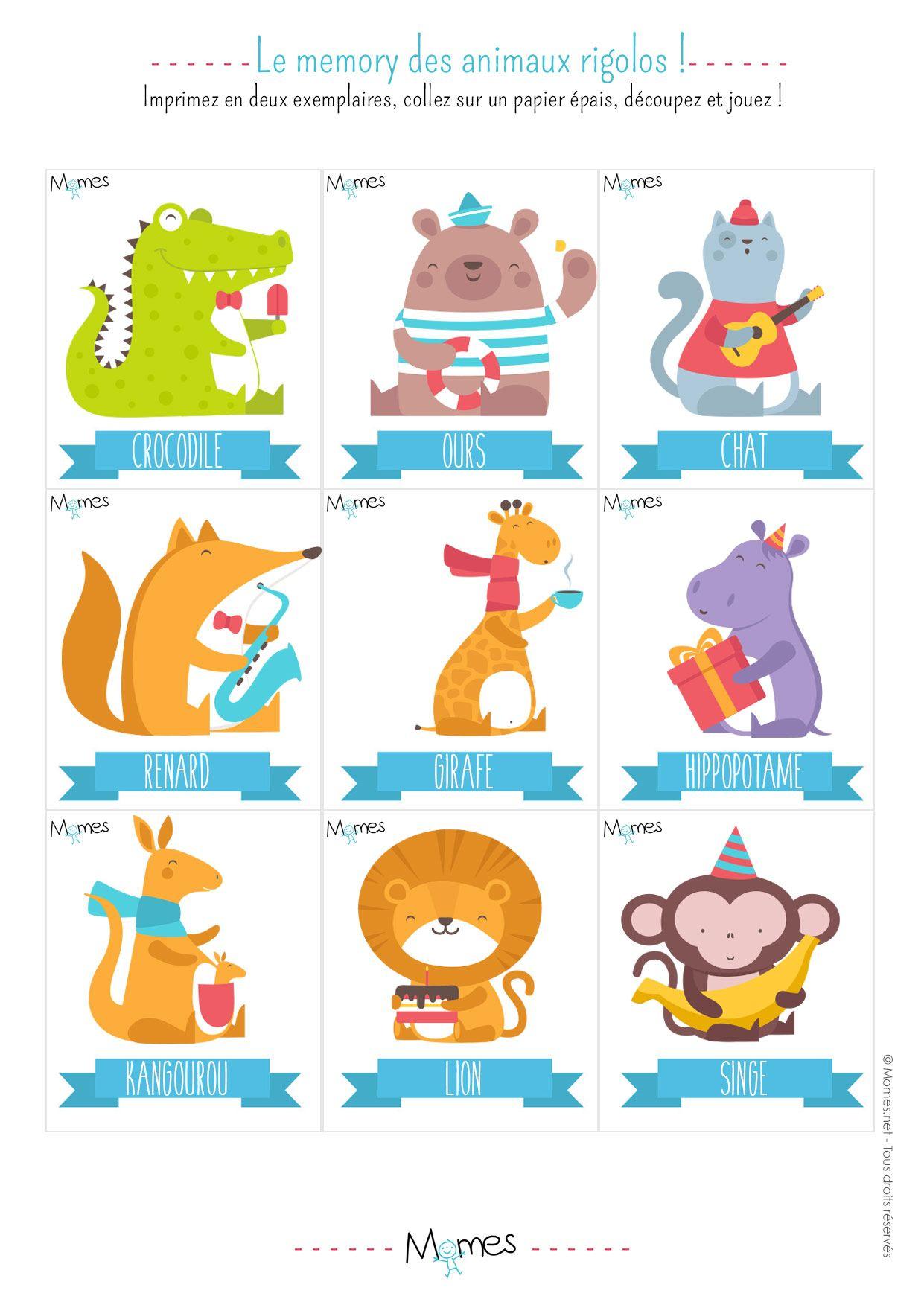 Memory Animaux - Jeu À Imprimer   Jeux A Imprimer, Jeu De intérieur Jeux De Bébé Animaux Gratuit
