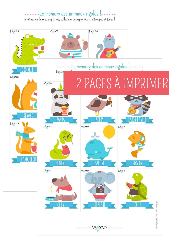 Memory Animaux - Jeu À Imprimer - Momes à Jeux De Mémoire À Imprimer Pour Adultes