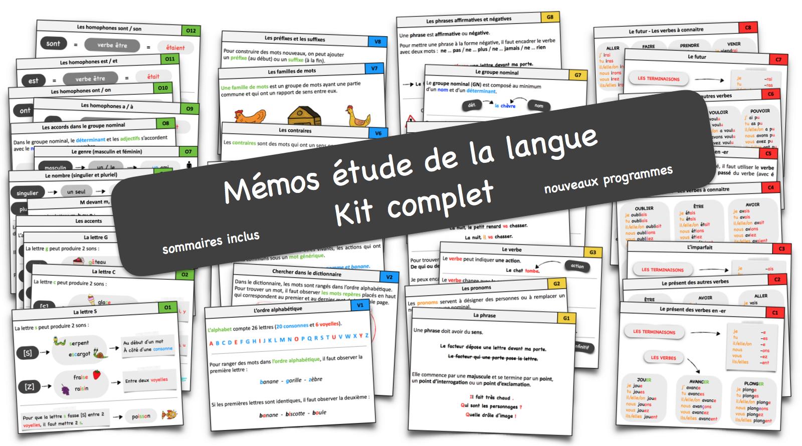 Mémos Étude De La Langue Ce1-Ce2 – Le Blog Du Cancre tout Fiche De Français Ce2