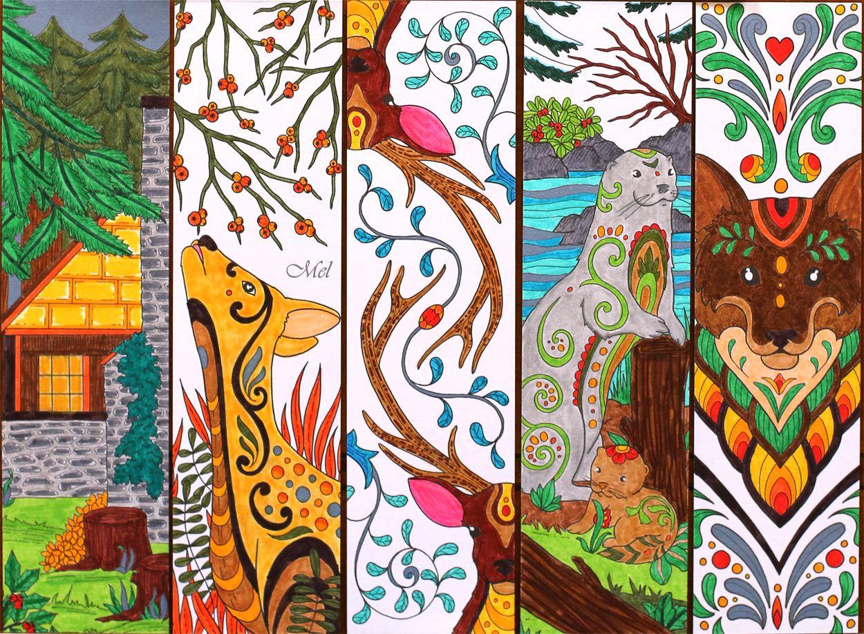 Mes Marque-Pages À Colorier - Esprits Du Nord - Coloriages à Marque Page À Colorier