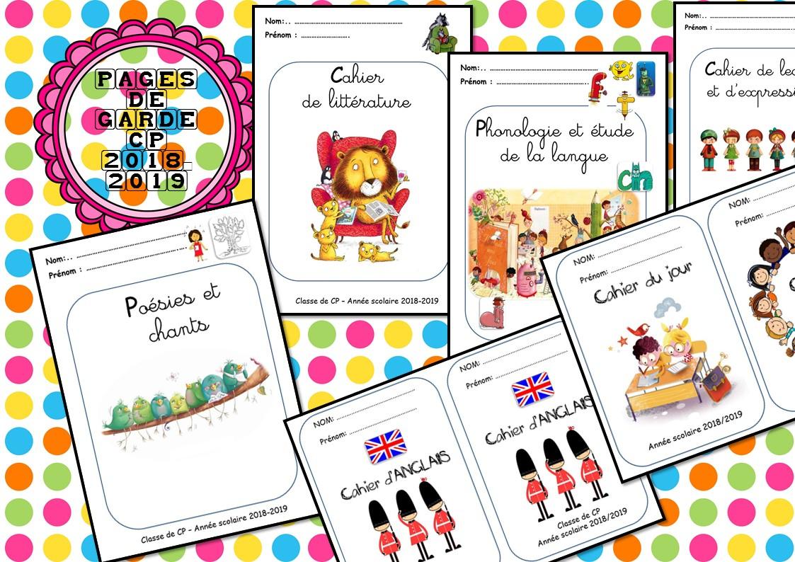 Mes Pages De Garde - Cp Et Ce1 - La Classe De Corinne à Cahier D Exercice Cp