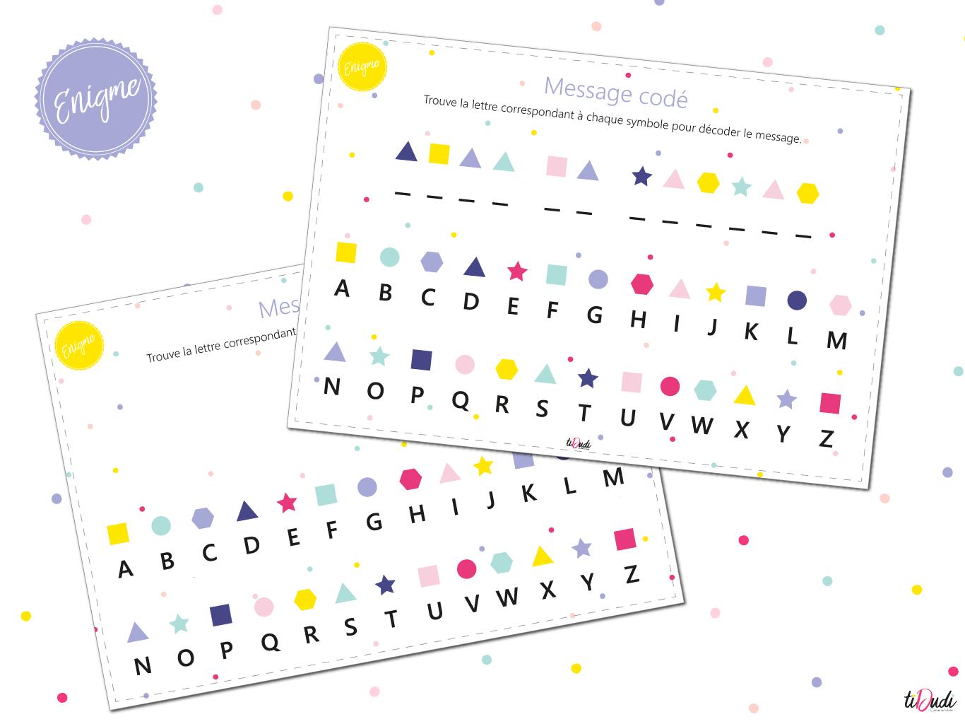 Message Codé - Énigme Pour Escape Game Pour Enfant - Tidudi intérieur Mots Codés À Imprimer