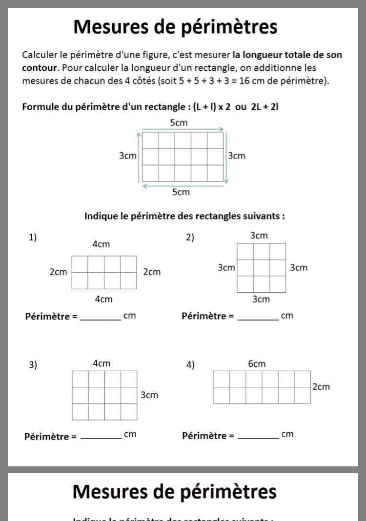 Mesure De Périmètre | Exercice Math Cm2, Maths Cm2 avec Jeux Mathématiques Cm2 À Imprimer