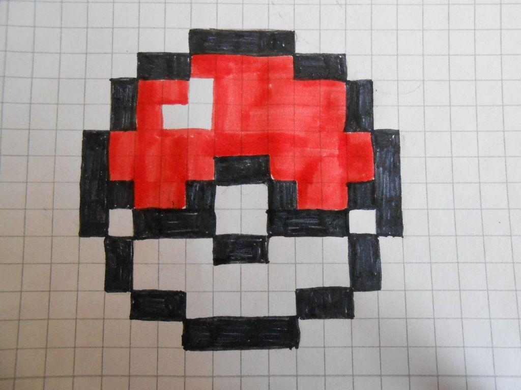 Minecraft Pokeball Pixel Art Grid : Crafts | Pixel Art concernant Pixel Art Fraise