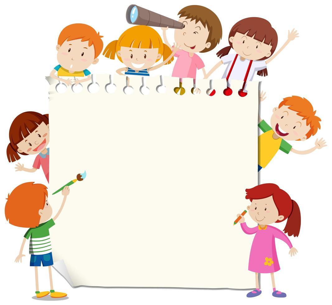 Modèle De Cadre Avec Des Enfants Heureux - Telecharger destiné Modele Dessin Enfant
