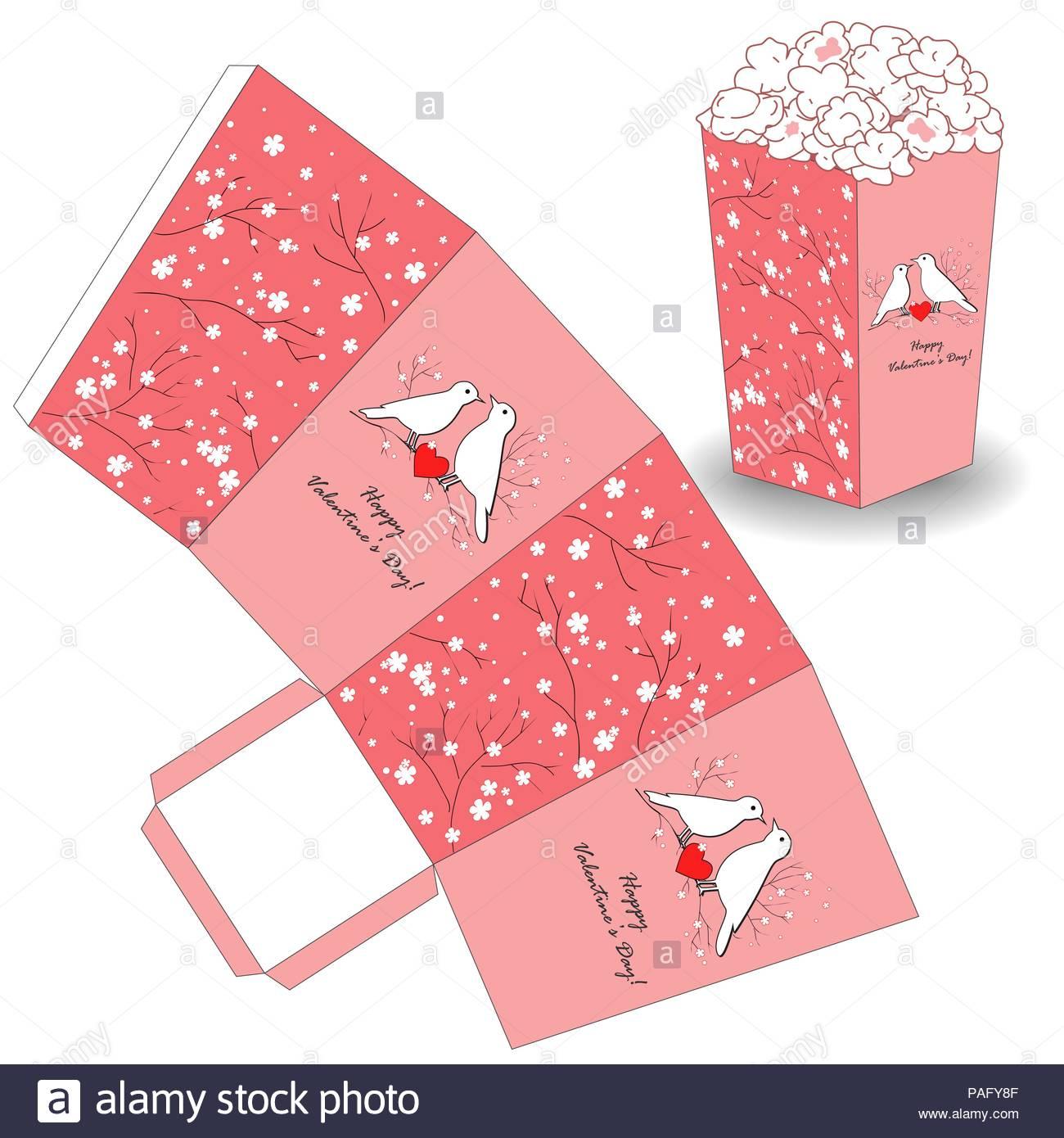 Modèle De Popcorn Pour La Saint-Valentin. La Conception De concernant Modèle Oiseau À Découper