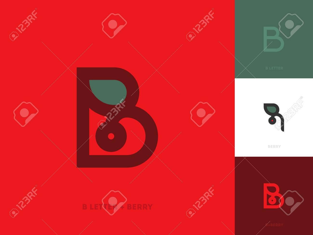 Modèle Élégant De Logo En Ligne Avec Lettre B Et Baie Rouge Avec Feuille encequiconcerne Feuille Ligne Lettre