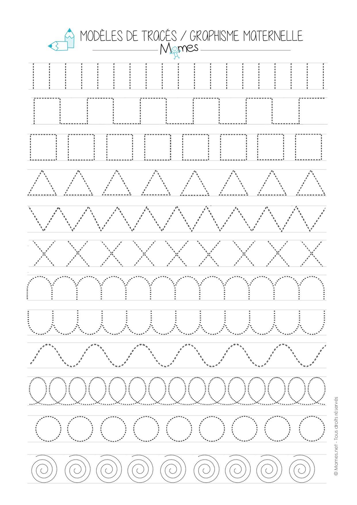Modèles De Graphisme En Pointillé | Fiches De Travail Pour serapportantà Exercice De Graphisme Petite Section A Imprimer