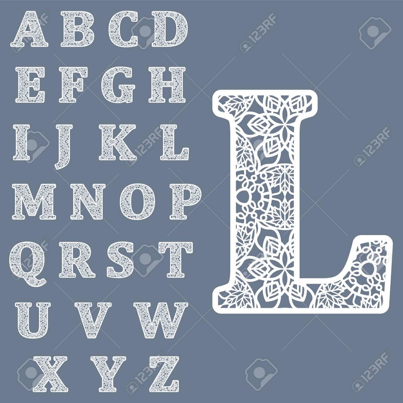 Modèles Pour Découpage De Lettres. Alphabet Anglais Complet. Peut Être  Utilisé Pour La Découpe Au Laser. Lettres De Dentelle De Fantaisie. intérieur Découper En Anglais