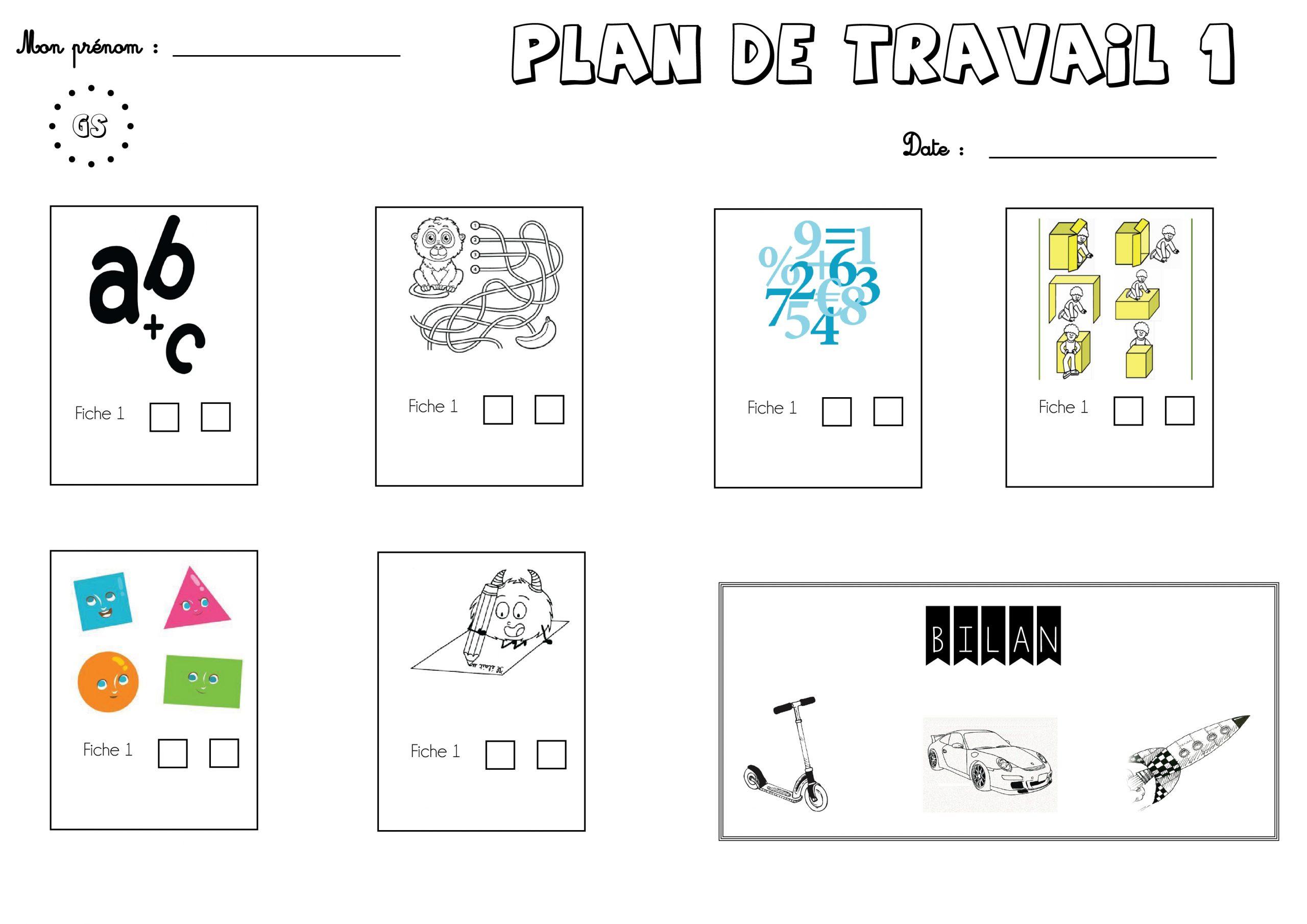 Mon Organisation 2017/2018 (Ateliers Et Plan De Travail encequiconcerne Travaille De Cp A Imprimer