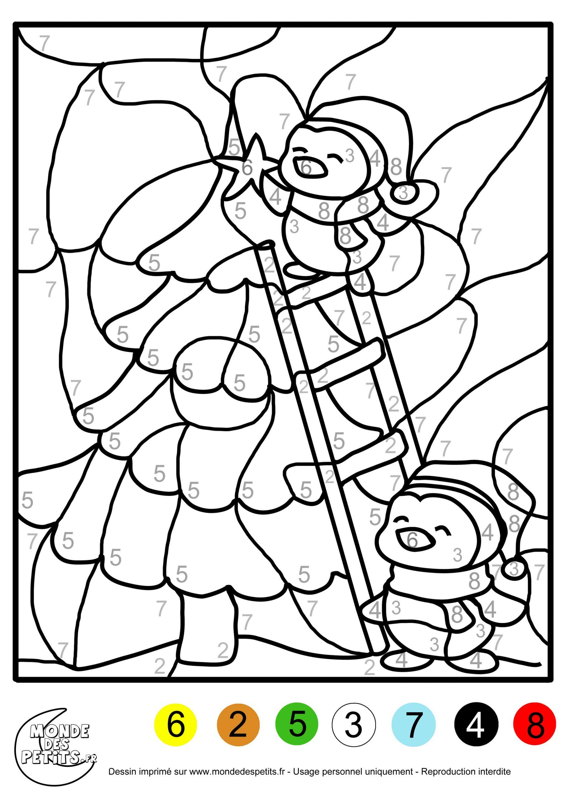 Monde Des Petits - Coloriages À Imprimer avec Coloriage Codé Noel