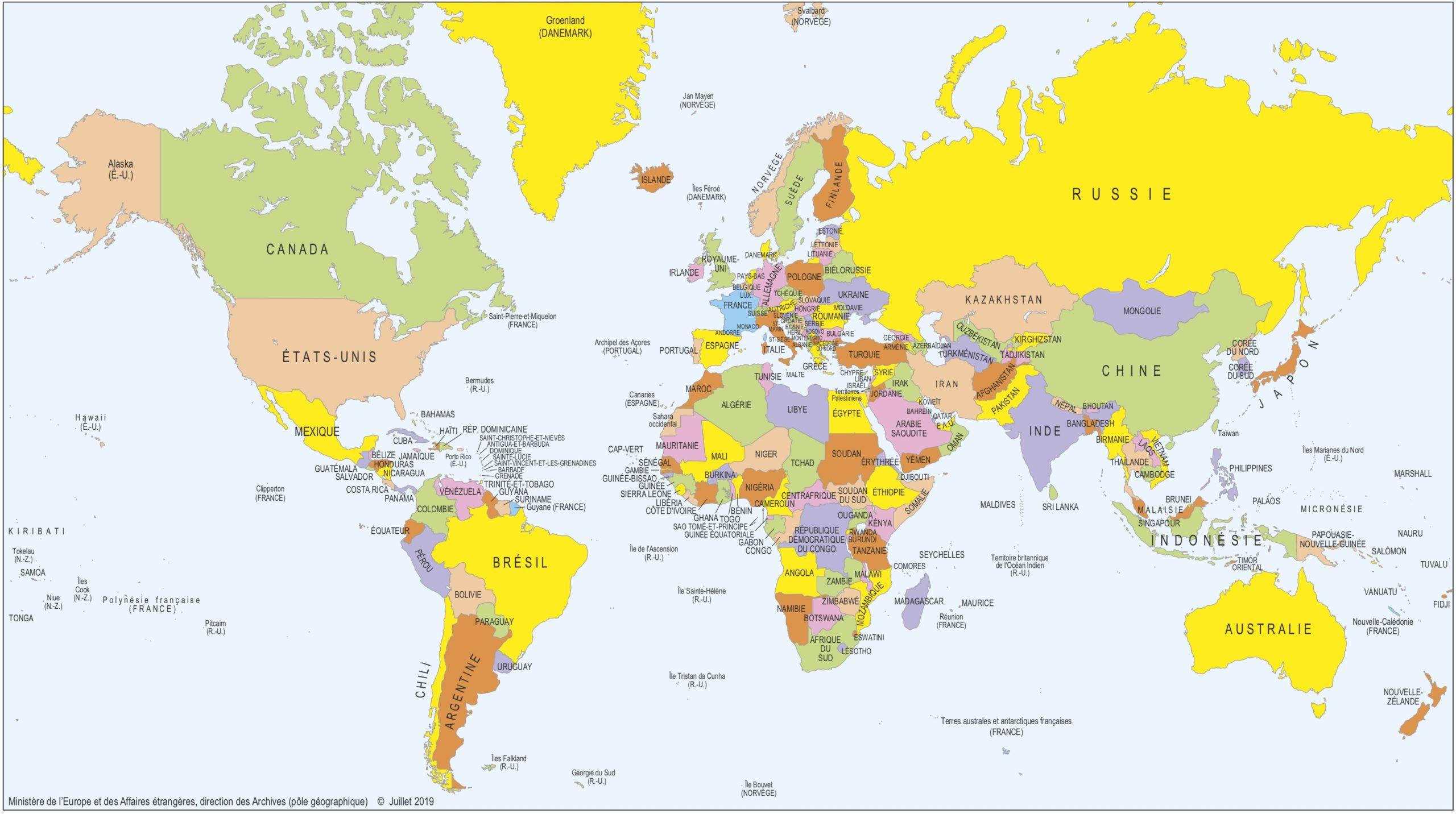 Monde - Politique (Grand) • Carte • Populationdata dedans Carte Du Monde En Ligne