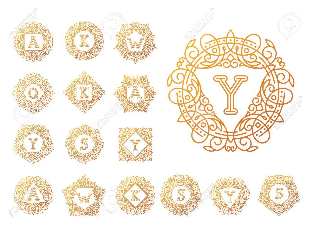 Monogramme Bage Logo Vector Illustration Texte Lettre Nature Feuille  Insigne Emblème Ligne Set Collection Signe Ornement Élément Vintage Cadre  Élégant à Feuille Ligne Lettre