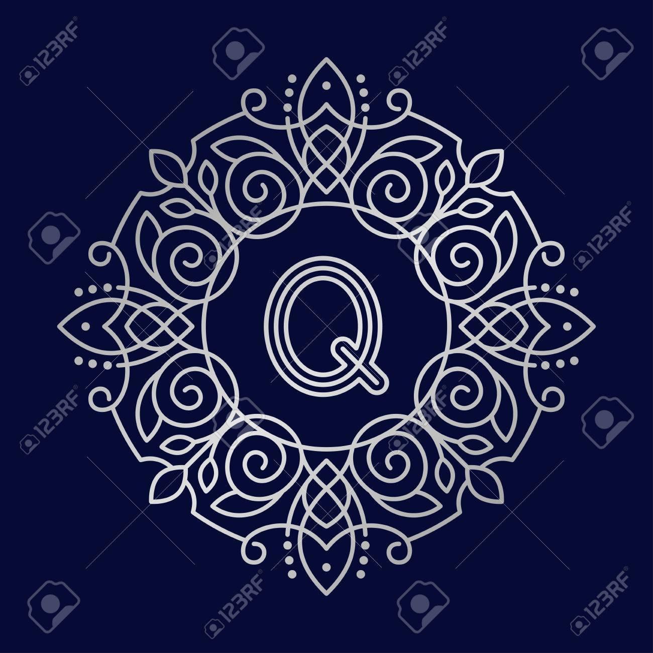 Monogramme Q Bage Logo Vector Illustration Texte Lettre Nature Feuille  Insigne Emblème Ligne Ensemble Collection Signe Ornement Élément Vintage  Cadre destiné Feuille Ligne Lettre
