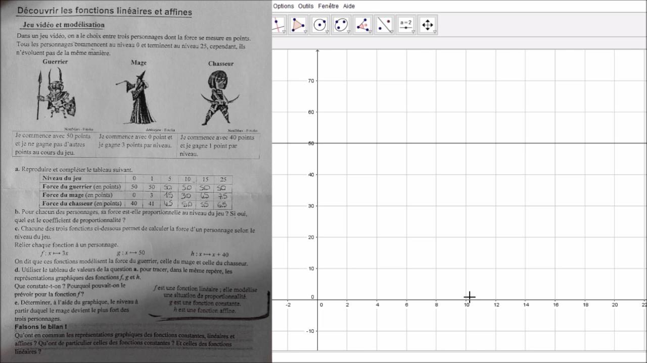 Monplanmaths : Découvrir Les Fonctions Linéaires Et Affines - Jeu Vidéo Et  Modélisation destiné Jeux De Exercice De Maths