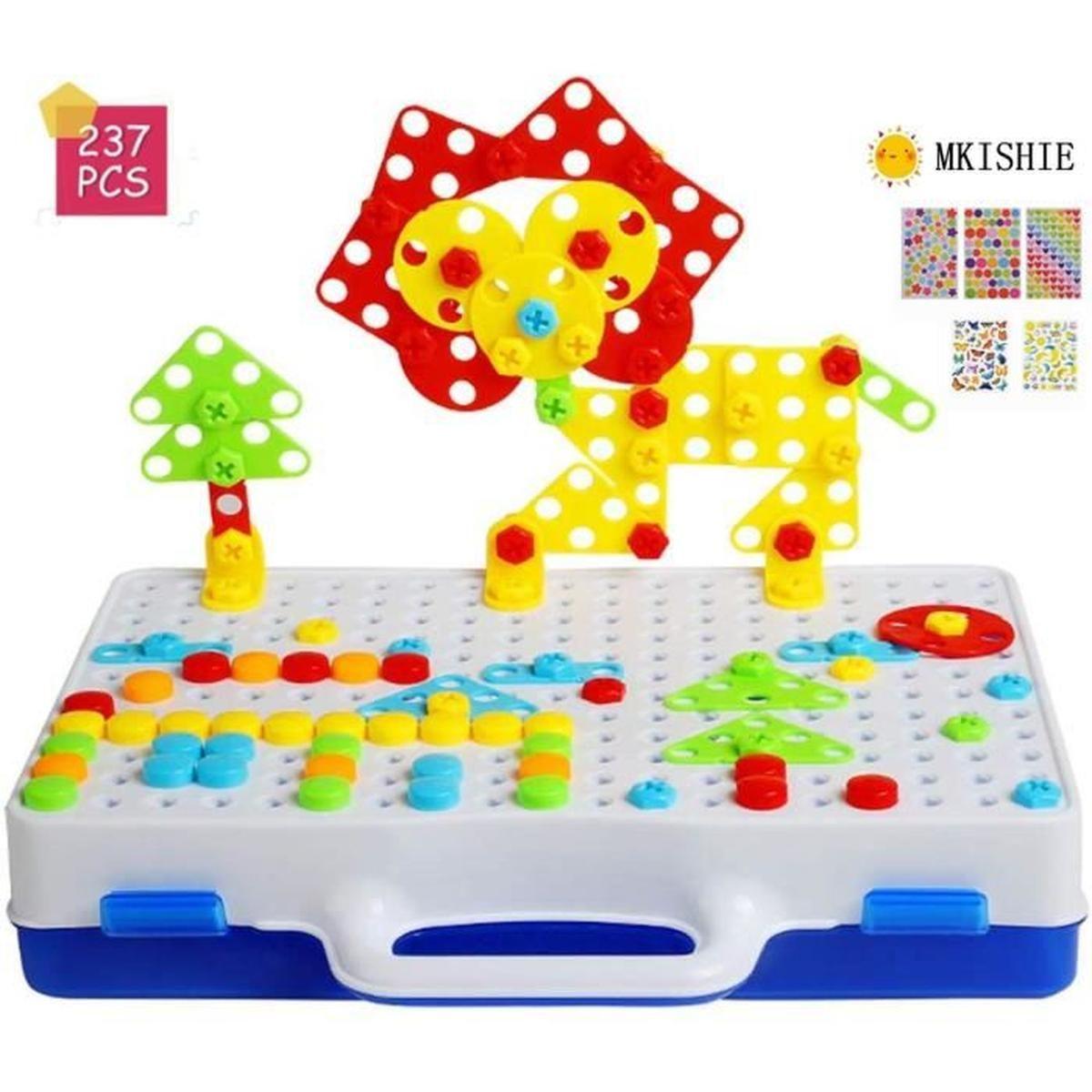 Mosaique Enfant Puzzle 3D Construction Enfant Jeu Montessori encequiconcerne Jouet Pour 5 Ans Garcon