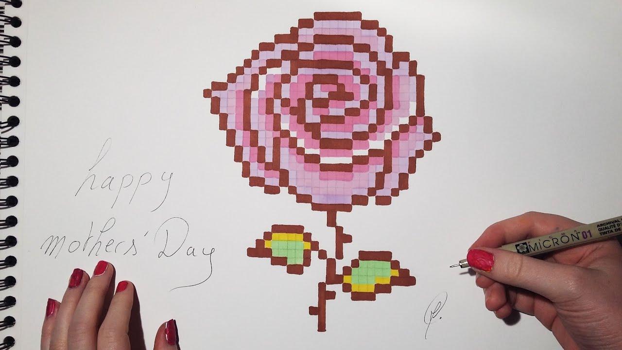 Mothers' Day - Rose Drawing (Pixel Art) dedans Pixel Art Flamant Rose