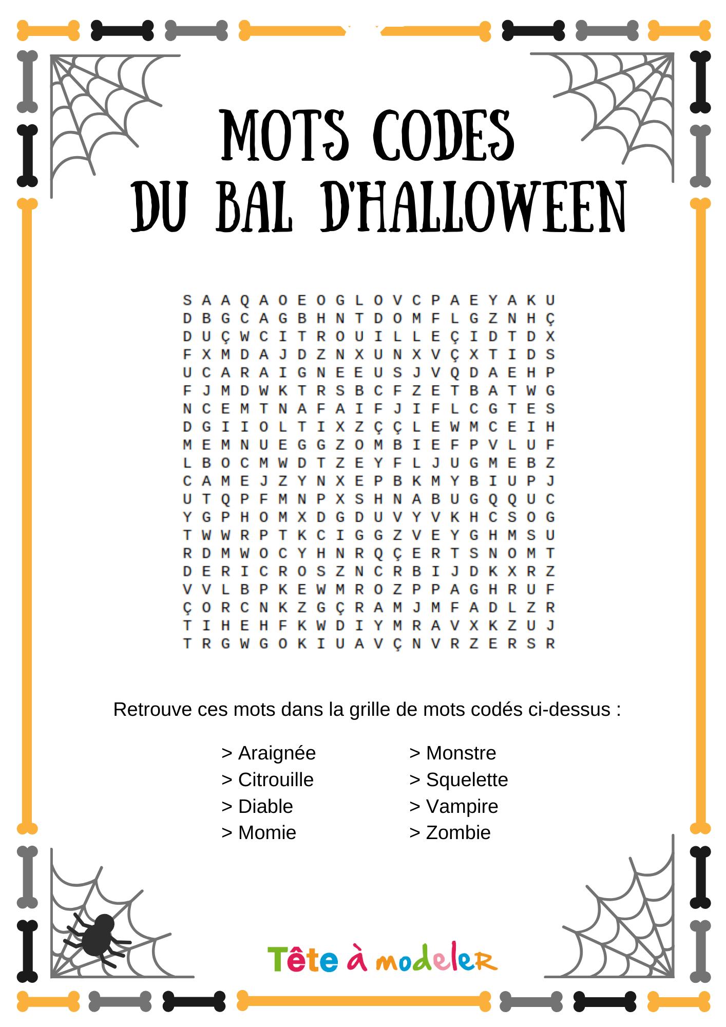 Mots Codés Halloween #1 - Un Jeu À Imprimer De Tête À Modeler intérieur Mots Codés À Imprimer