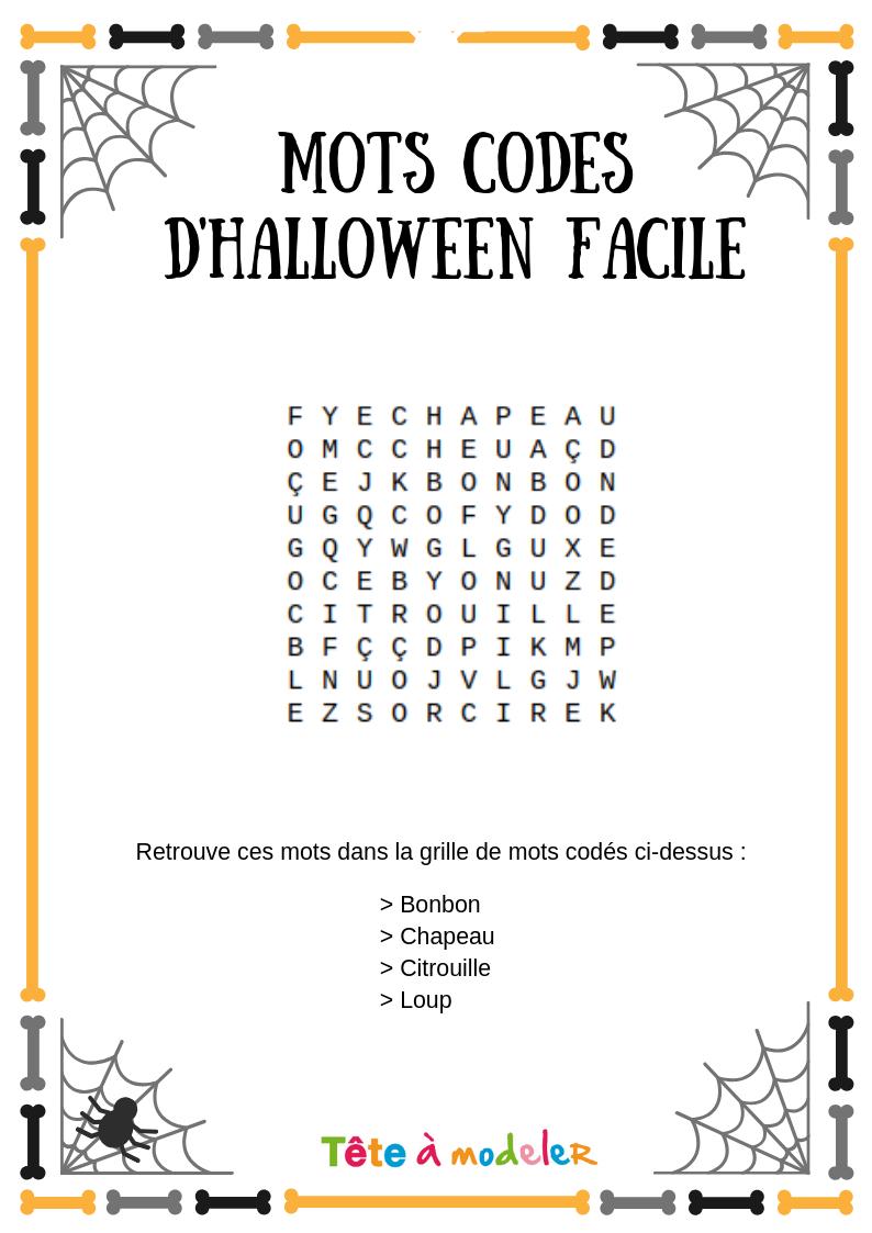 Mots Codés Halloween #2 - Un Jeu À Imprimer De Tête À Modeler dedans Mots Codés À Imprimer