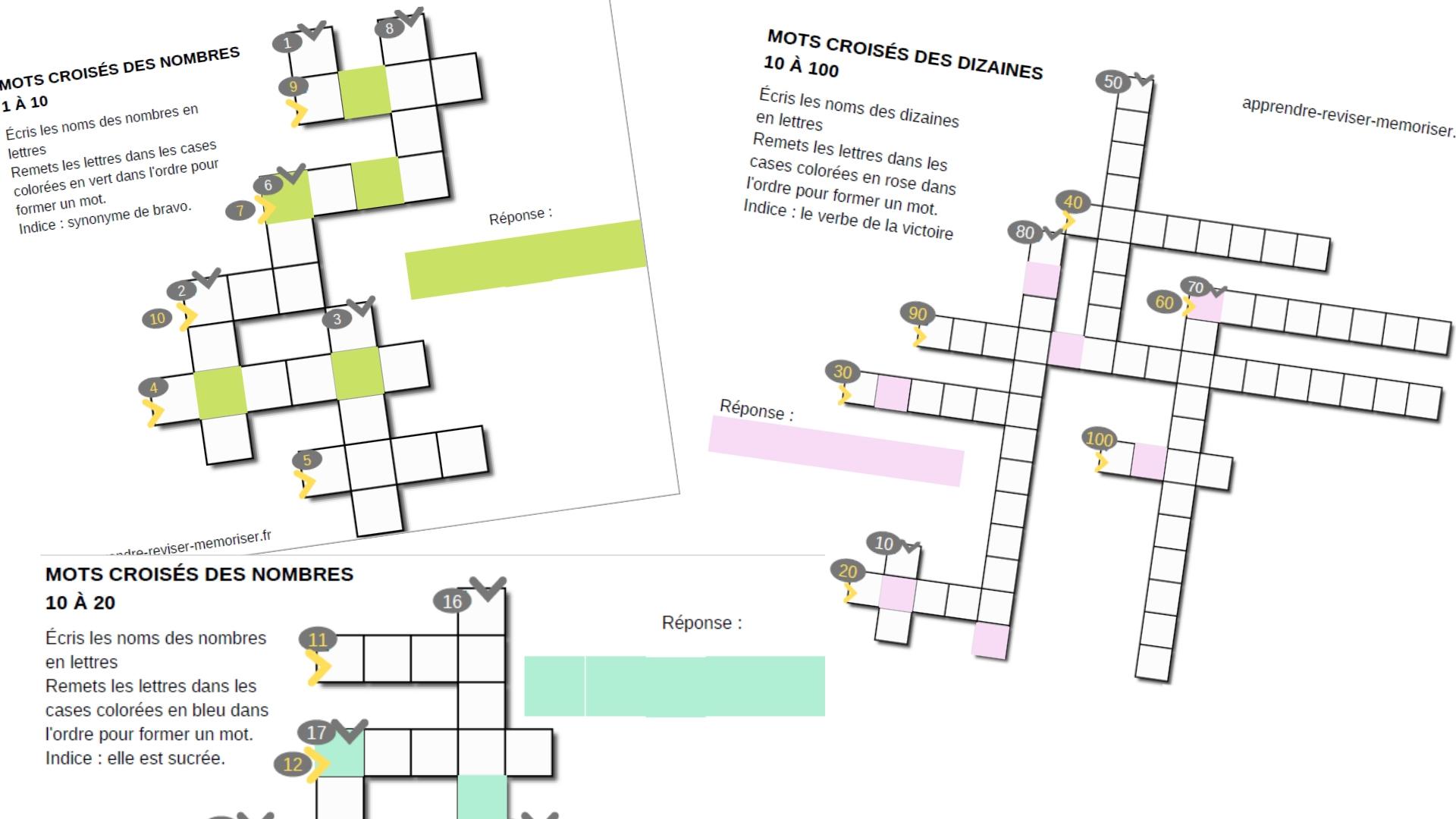 Mots Croisés Des Nombres : 3 Jeux Pour Écrire Le Nom Des avec Apprendre Les Chiffres En Lettres Cp