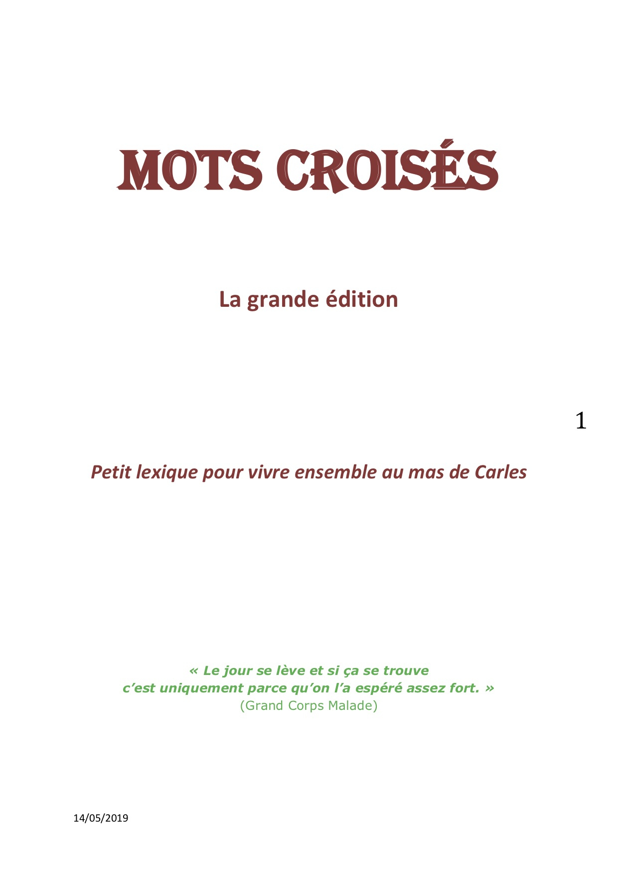 Mots Croisés - Mas De Carles destiné Grand Ensemble Mots Croisés