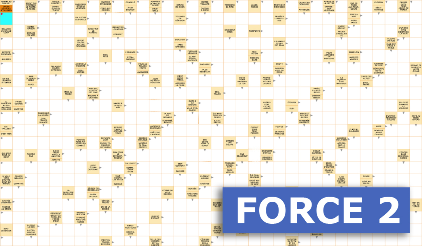 Mots Fléchés Géants Gratuits - Force 2 - 14 Janvier 2020 concernant Mot Fleches Geant