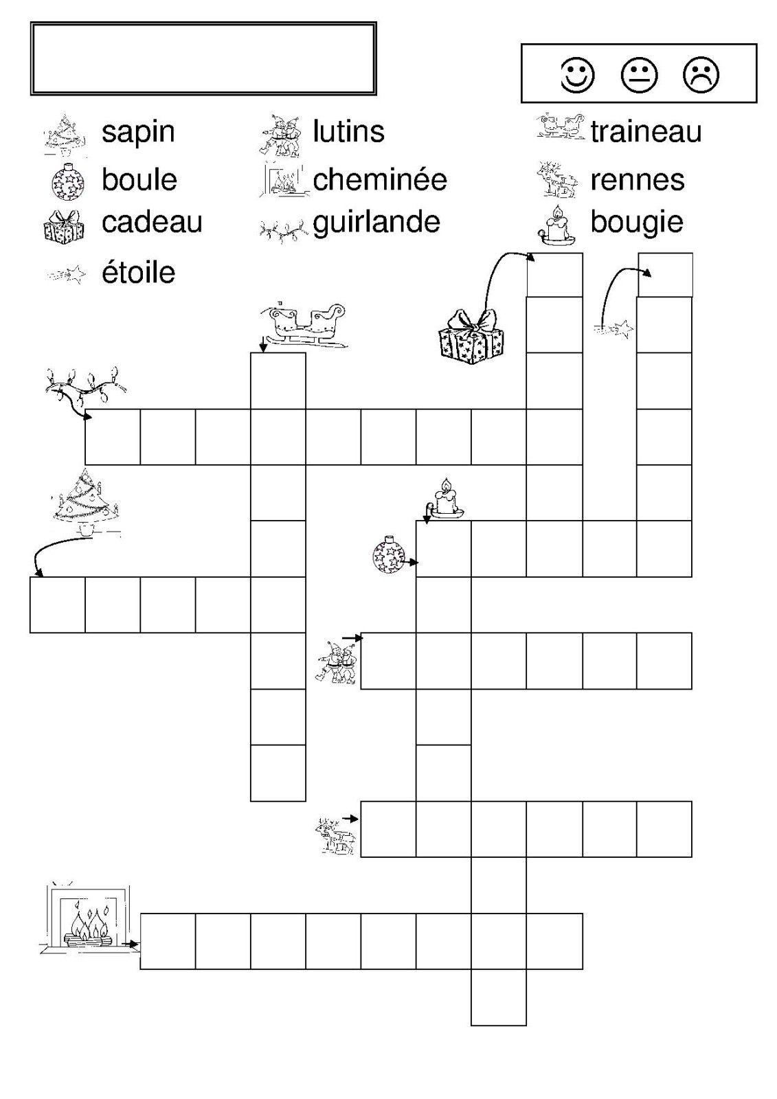 Mots Fléchés Noël - Chez Camille dedans Mots Croisés Difficiles Gratuits À Imprimer