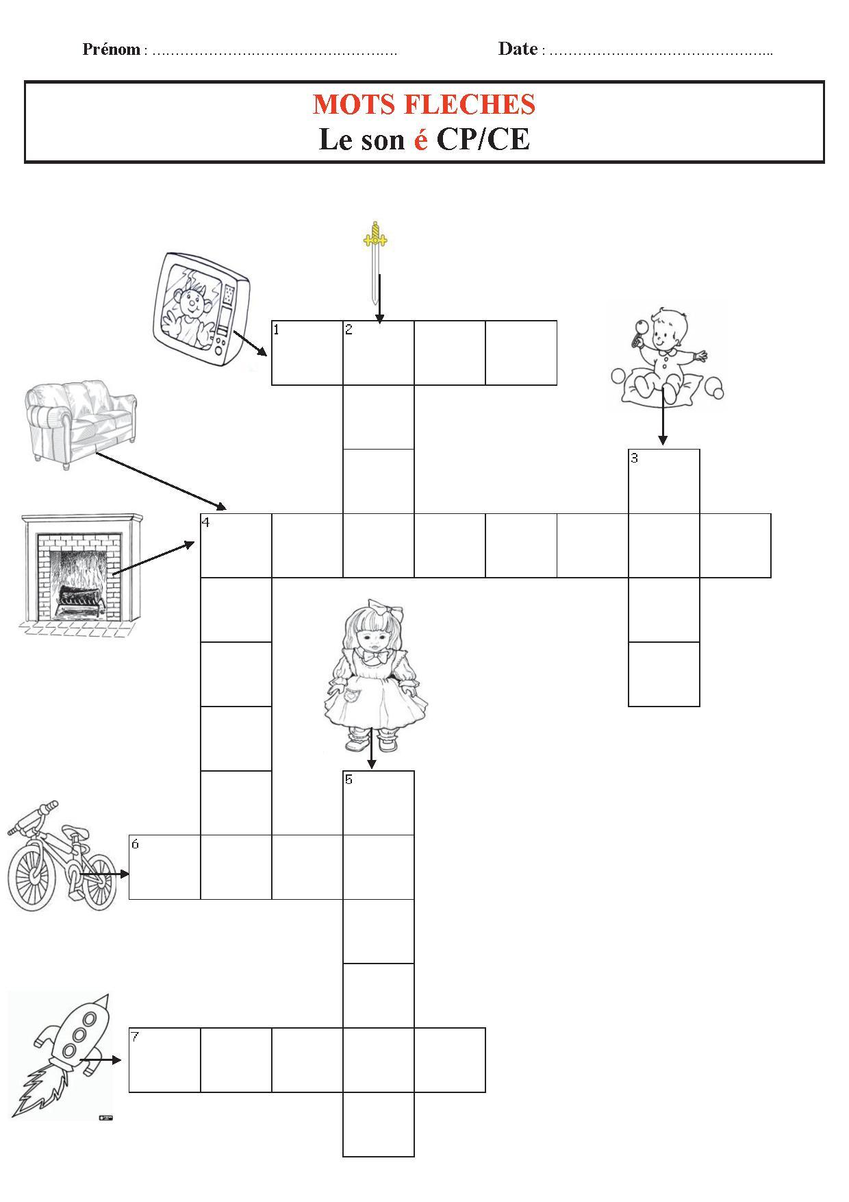 Mots Fléchés,sons Maternelle Et Cp, Ce1, Son É destiné Mot Fleches Enfant