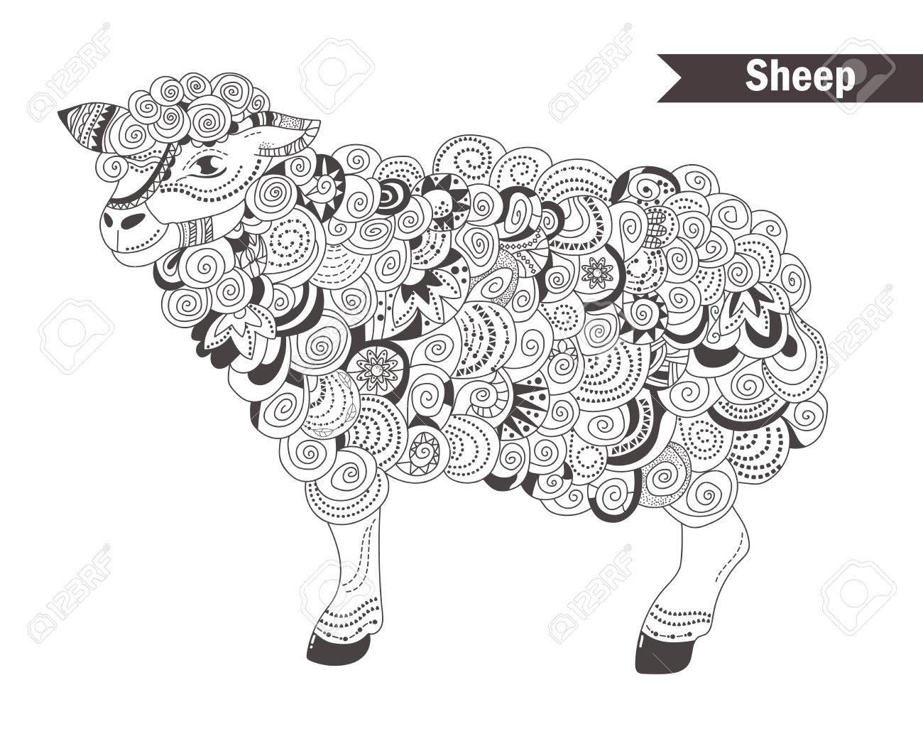 Mouton. Livre De Coloriage Pour Les Adultes, Des Pages À Colorier  Antistress. Main Vecteur Tracé Isolé Illustration Sur Fond Blanc. Henna  Mehendi, encequiconcerne Mouton À Colorier