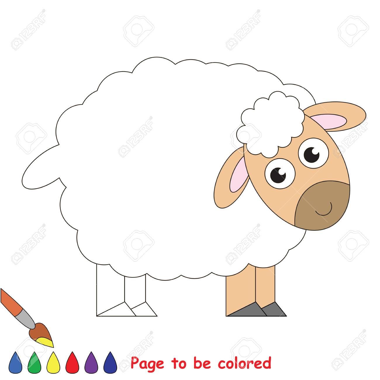 Mouton Mignon À Colorier, Le Livre À Colorier Pour Éduquer Les Enfants  D'âge Préscolaire Avec Des Jeux Éducatifs Faciles Pour Les Enfants Et Une concernant Mouton À Colorier