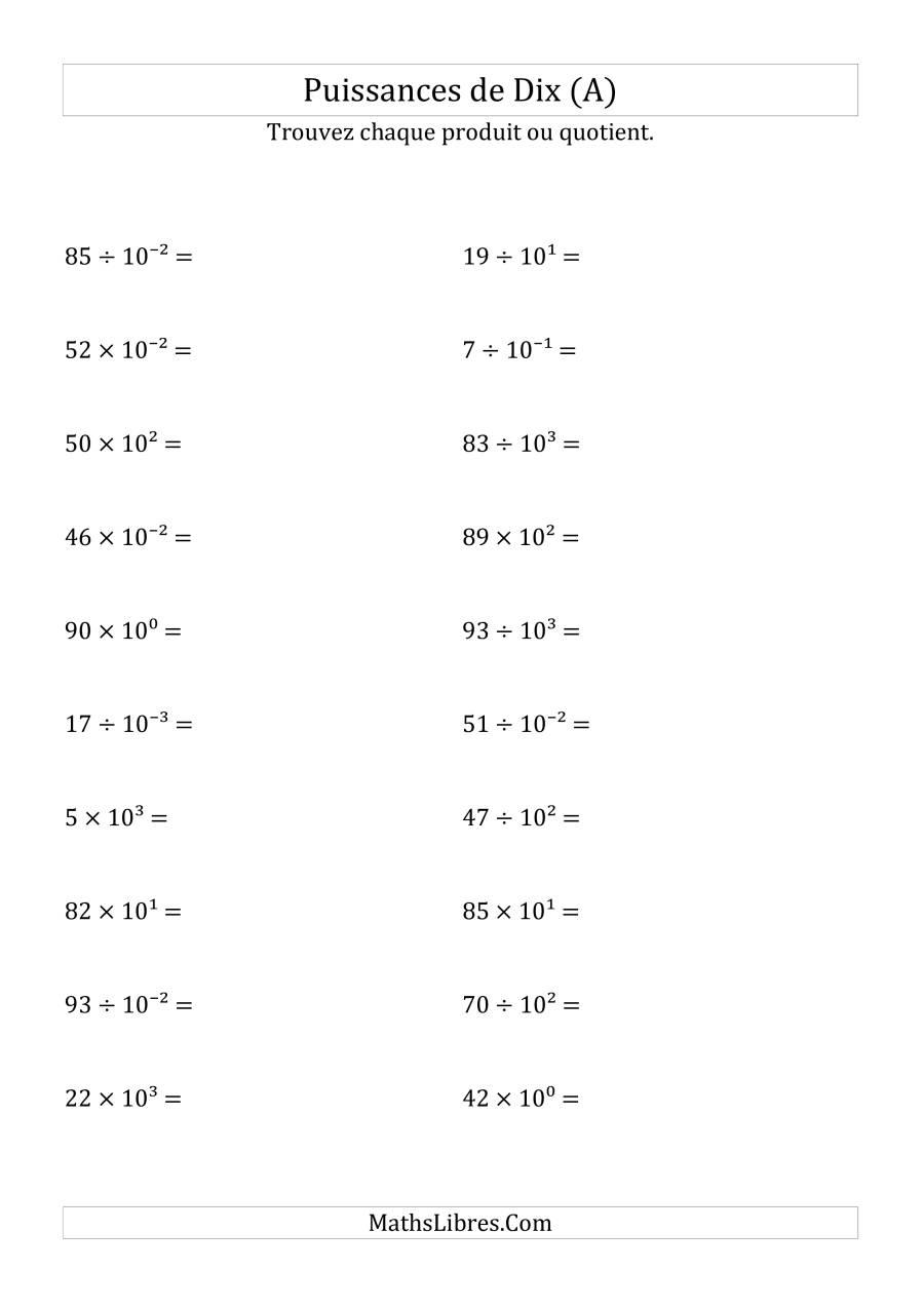 Multiplication Et Division De Nombres Entiers Par Puissances avec Exercice De Math Sur Les Puissances