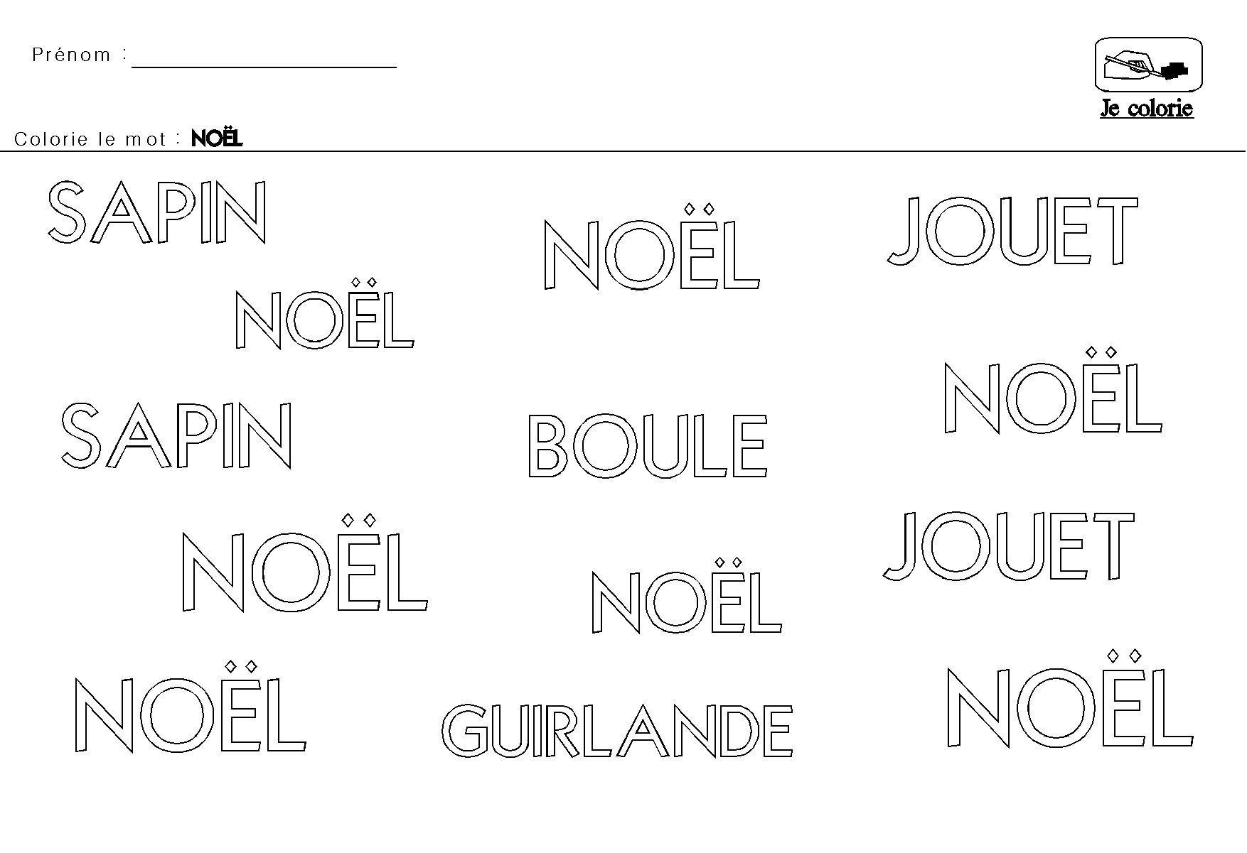 Noel En Maternelle Colorier Le Mot Noel (Avec Images) | Noel pour Noel Maternelle Grande Section