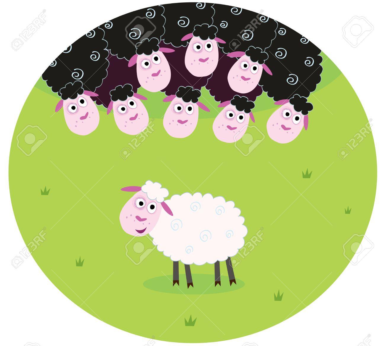Noir Et Blanc Mouton. La Différence - Face De Moutons, Noir Et Blanc.  Moutons Blancs Entre La Famille De Brebis Galeuses. Dessin Stylisé  Illustration. intérieur Différence Entre Brebis Et Mouton