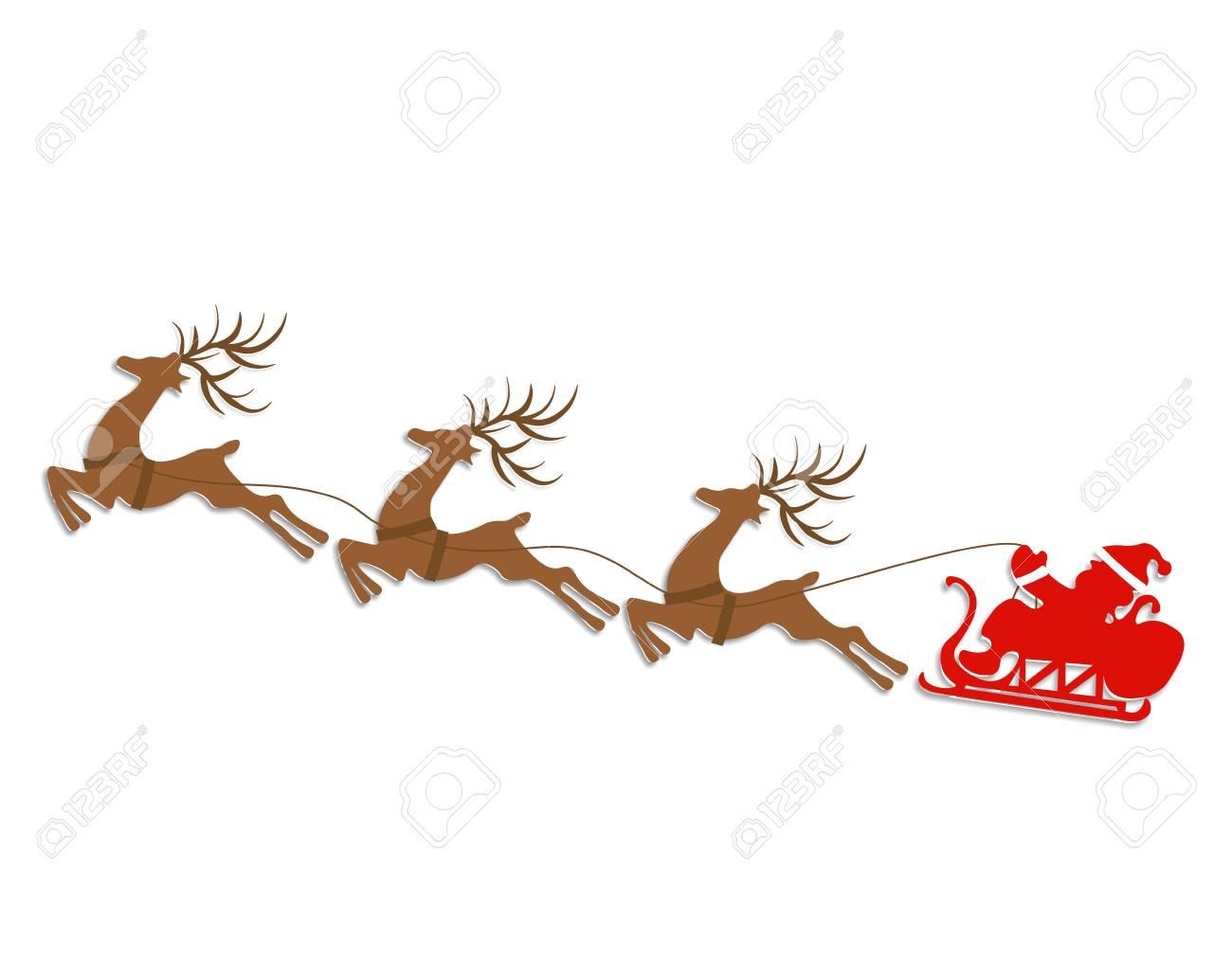 Nouvel An, Noël. Silhouettes Abstraites De Cerfs Et De Traîneau Du Père  Noël. Découper Du Papier. Illustration à Pere Noel A Decouper
