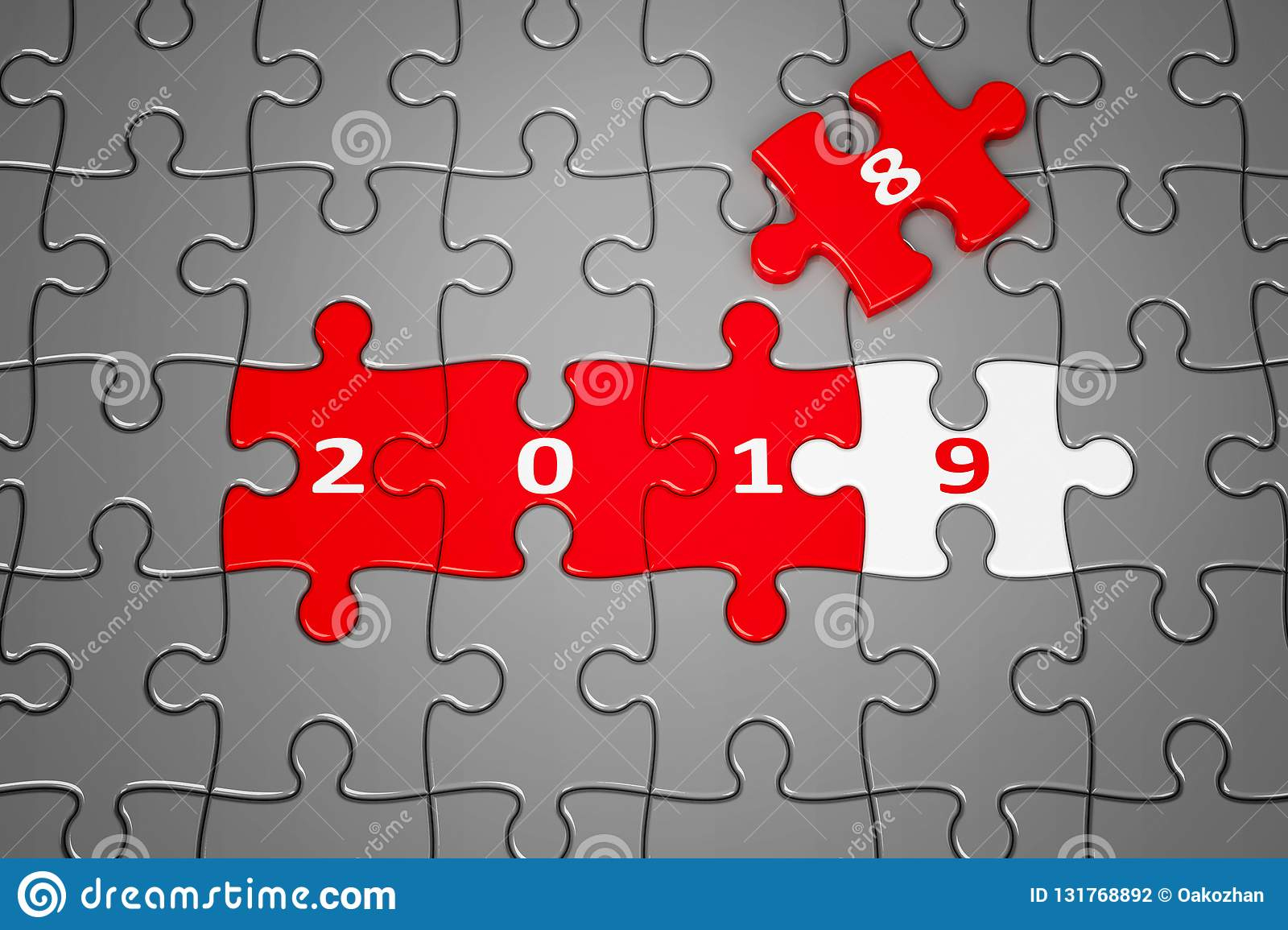 Nouvelle Année 2019 Faite À Partir Des Puzzles Illustration avec Puzzle À Partir De Photo