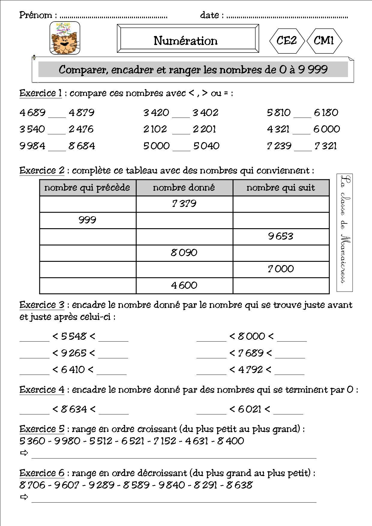 Numération Et Addition Ce2/cm1 - La Classe De Mamaicress destiné Exercices Maths Ce2 À Imprimer