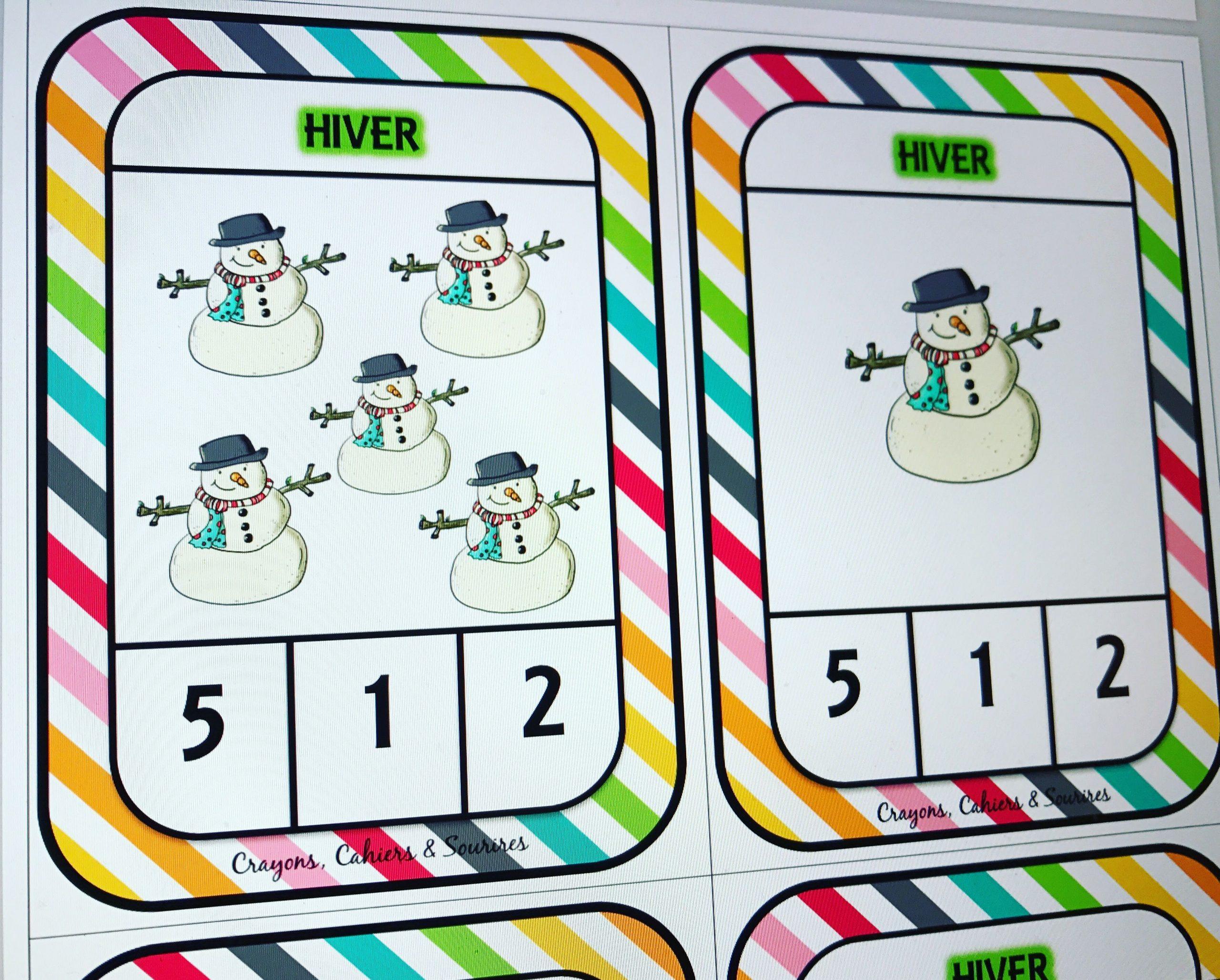 Numération Ms De 1 À 5 Sur Le Thème De L'hiver : Cartes À avec Activité Maternelle Hiver