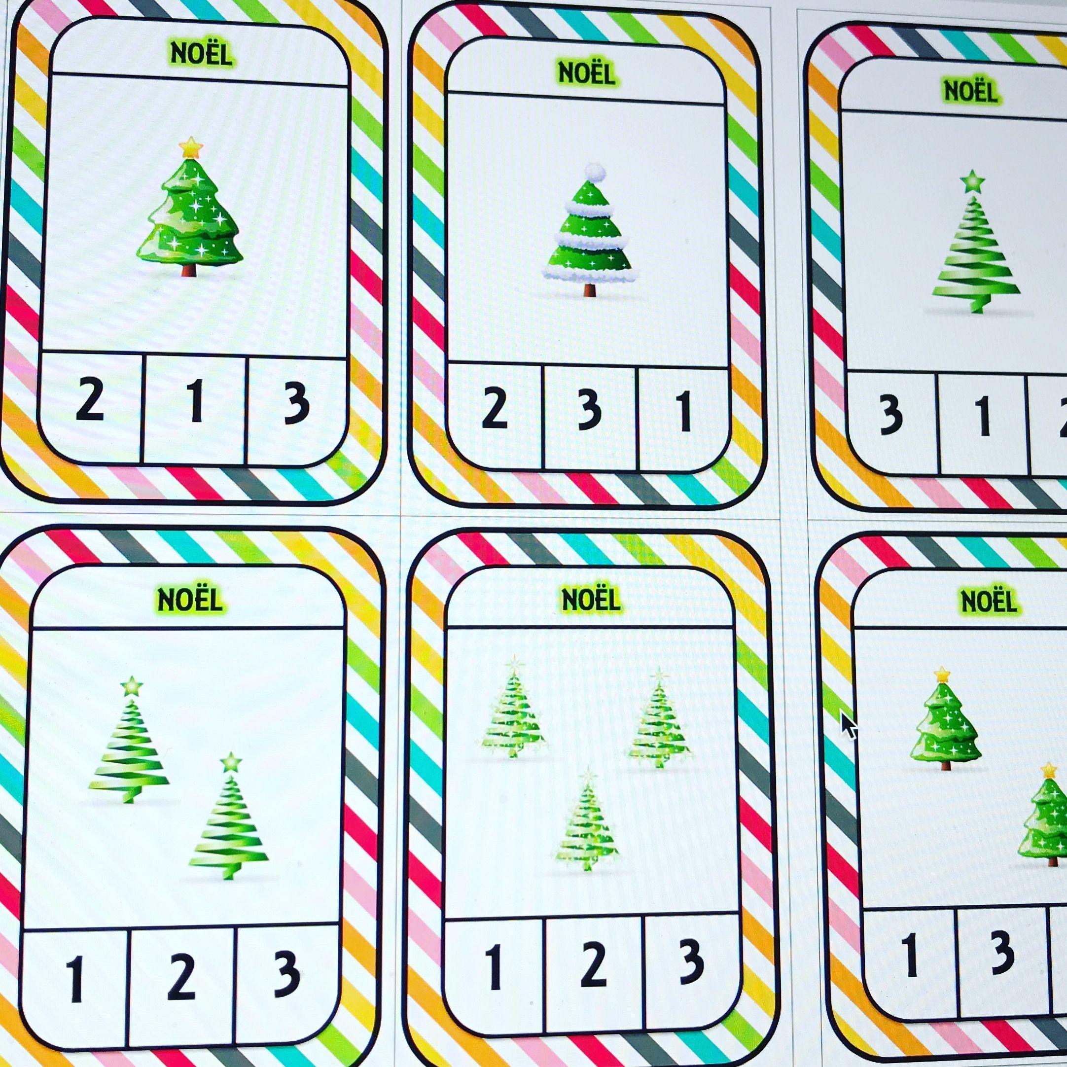Numération Ps : Cartes À Compter De 1 À 3 Sur Le Thème De pour Jeu Noel Maternelle