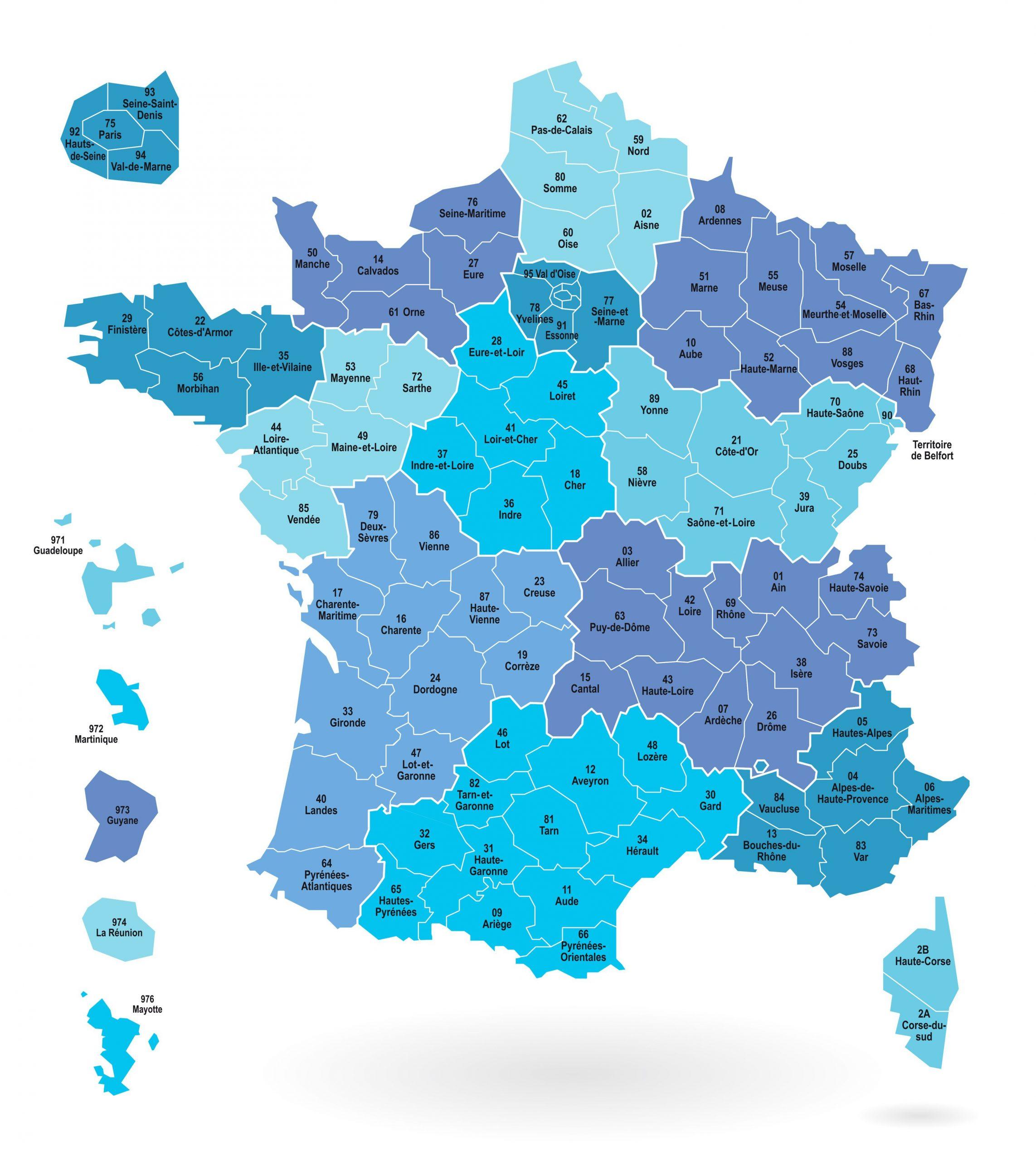 Numéros Et Départements De France Métropolitaine dedans Les Numéros Des Départements