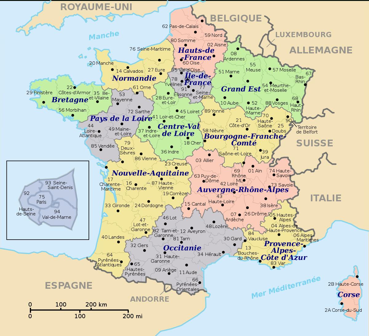 Numérotation Des Départements Français — Wikipédia dedans Les 22 Régions De France Métropolitaine