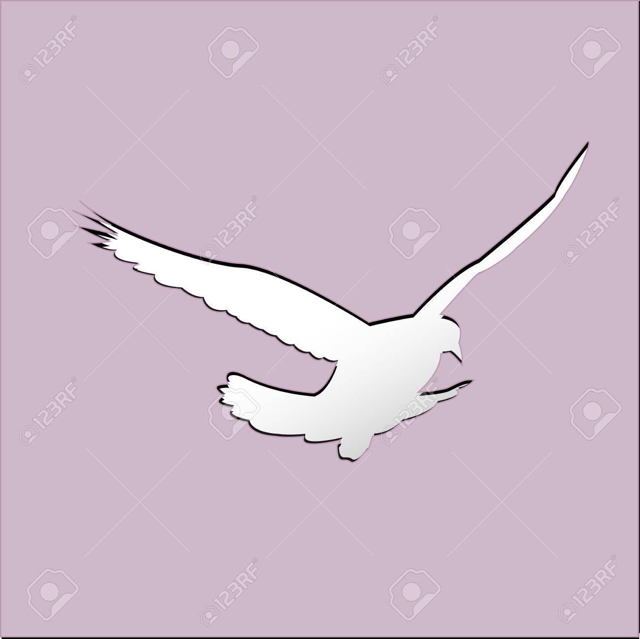 Oiseau Volant Sur Le Ciel Avec Des Nuages. Effet Découpé En Papier. Modèle  Pour Carte De Voeux. destiné Modèle Oiseau À Découper