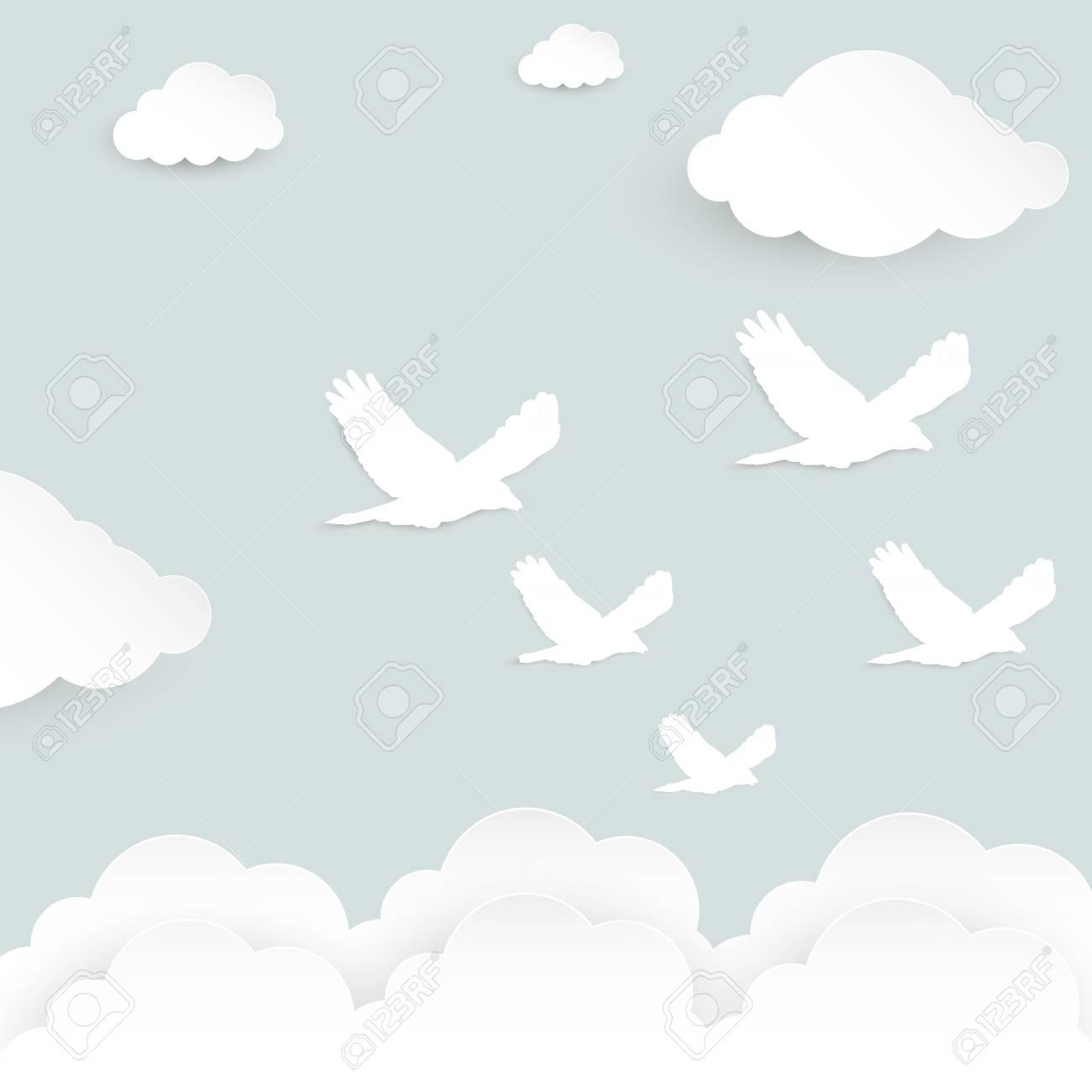 Oiseau Volant Sur Le Ciel Avec Des Nuages. Effet Découpé En Papier. Modèle  Pour Carte De Voeux. pour Modèle Oiseau À Découper