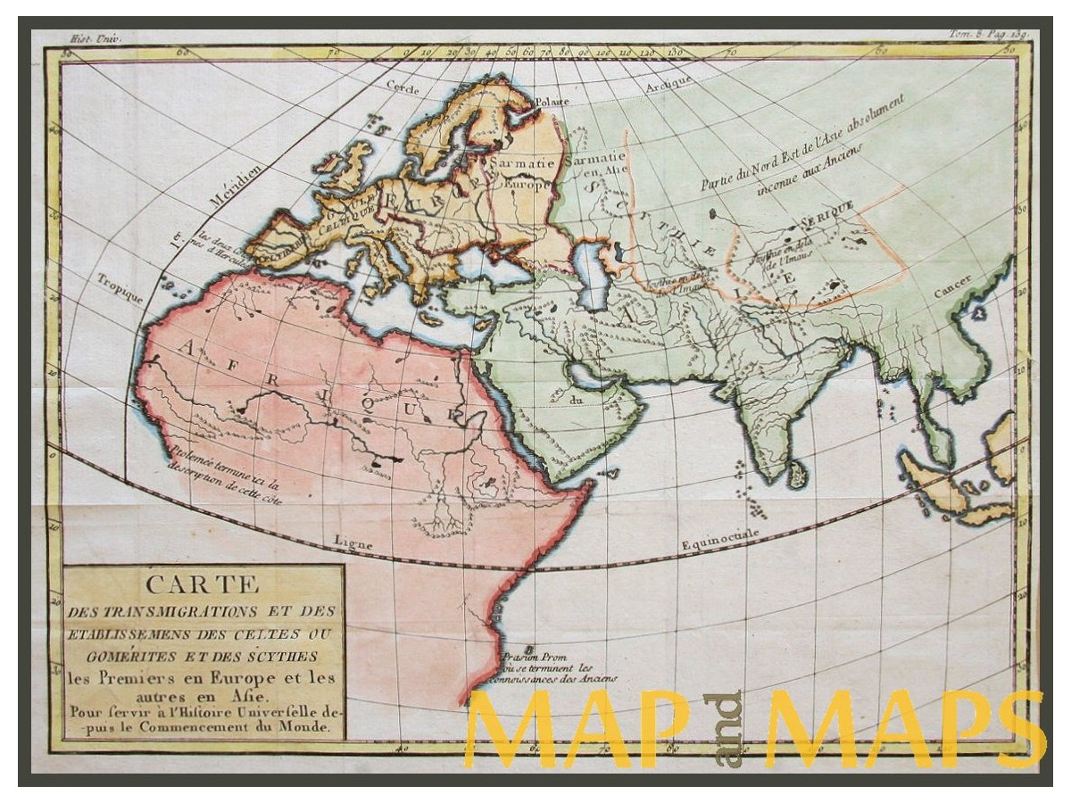 Old World Continents Antique Map Dumonde 1767 | Mapandmaps pour Carte Du Monde En Ligne