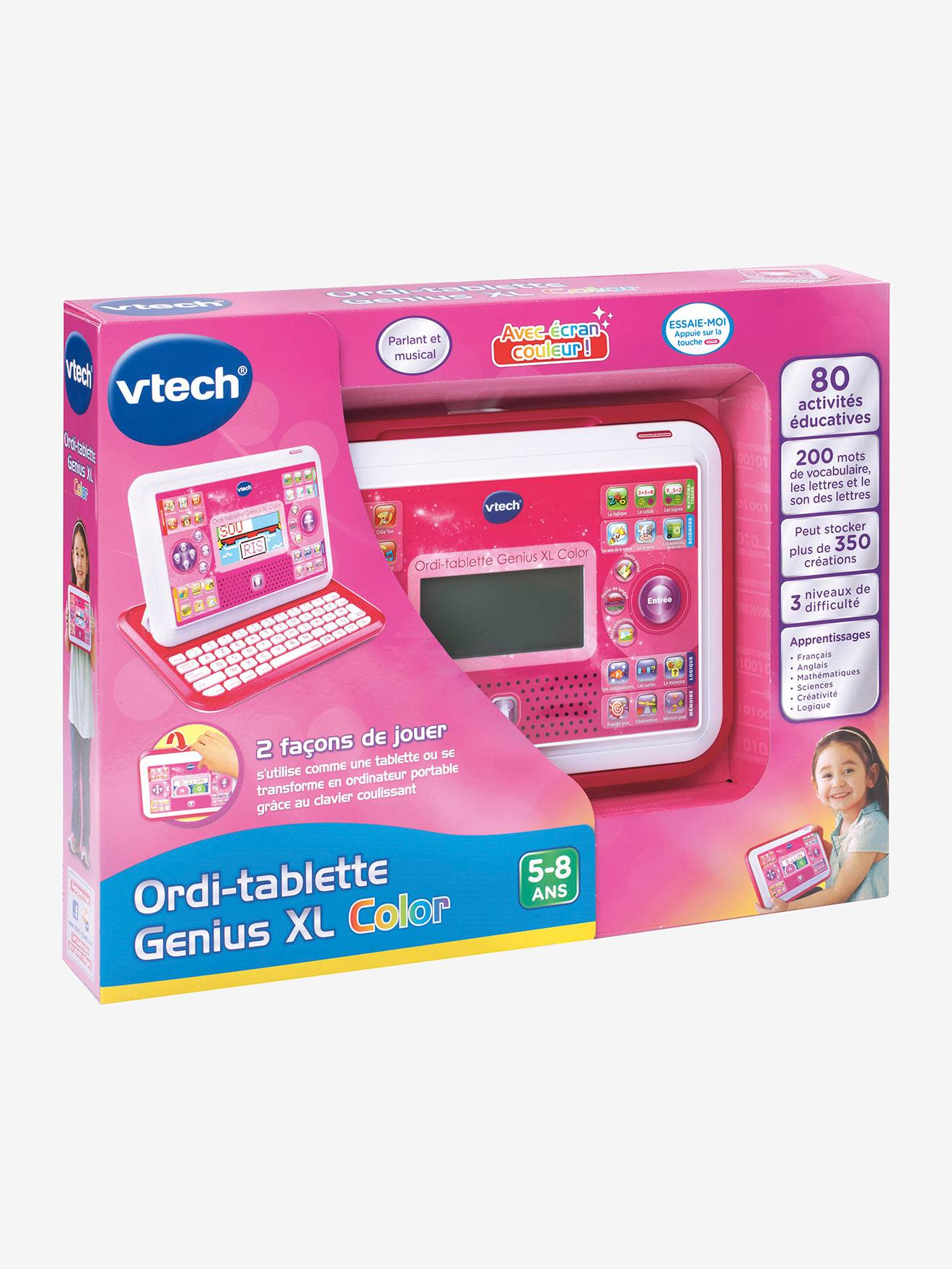 Ordi-Tablette Genius Xl Color Vtech Rose - Vtech encequiconcerne Ordinateur Educatif 3 Ans