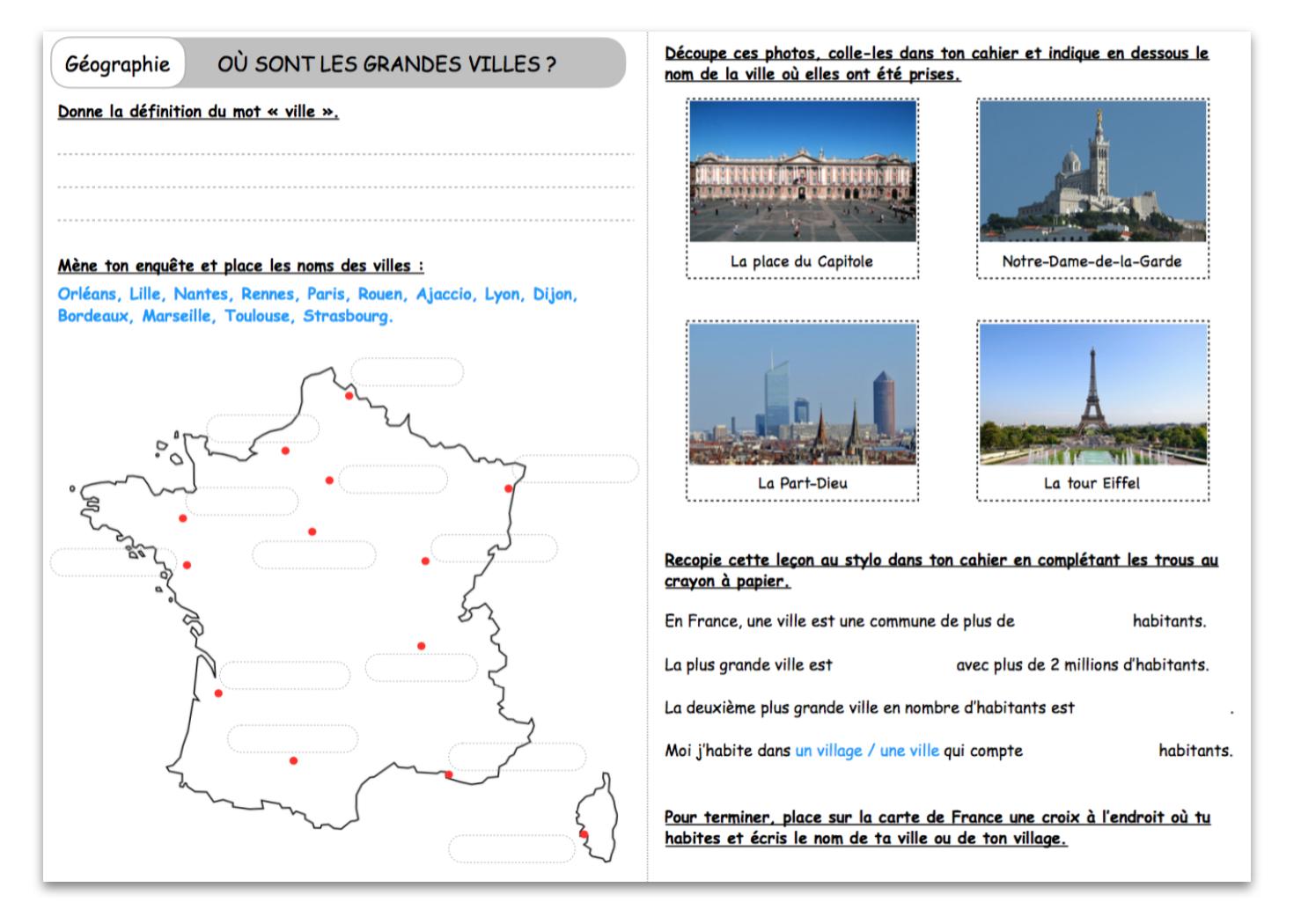 Où Sont Les Grandes Villes ? – Le Blog Du Cancre avec Carte De France Ce2
