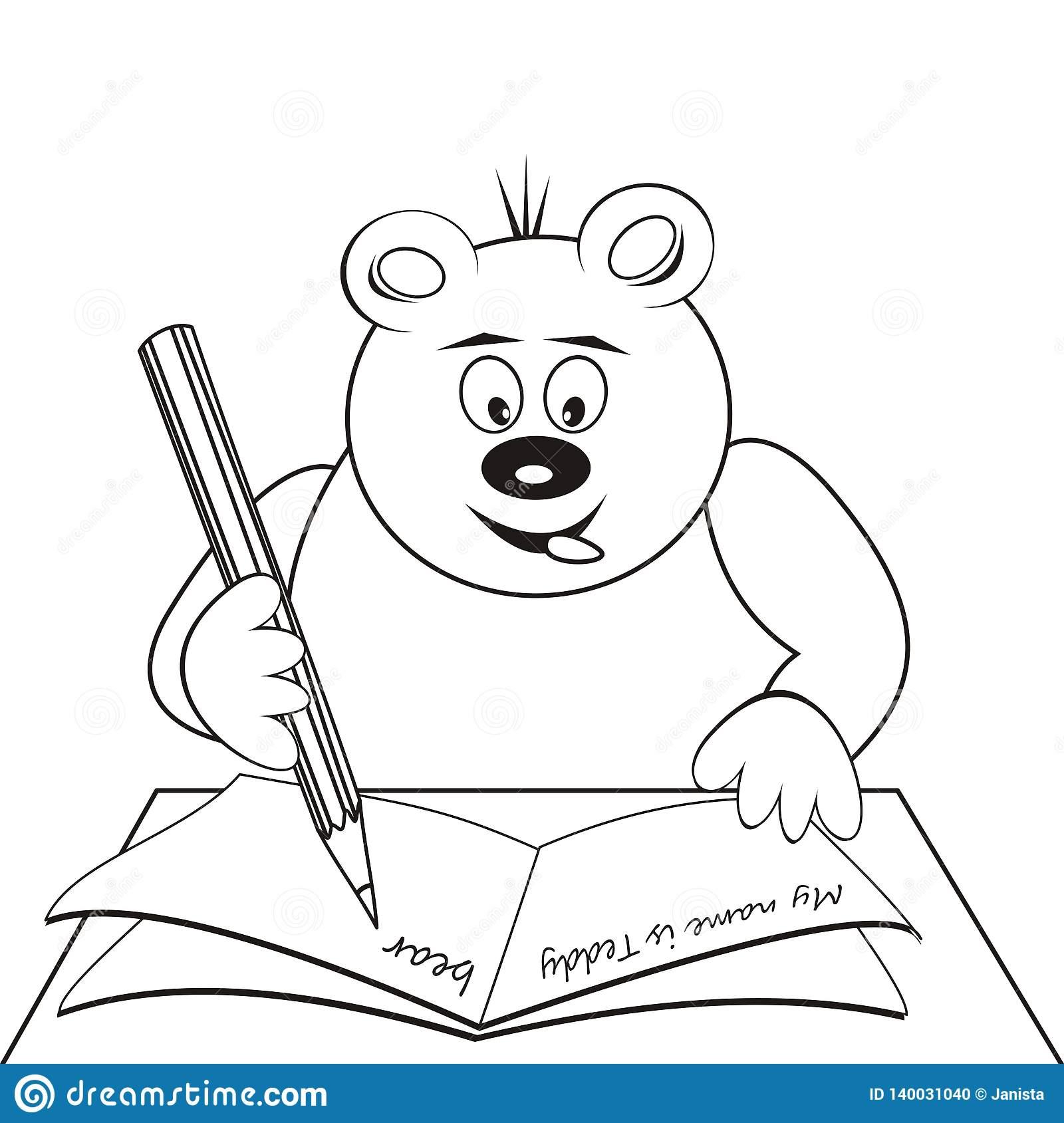 Ours De Nounours À L'école, Livre De Coloriage, Icône De à Cahier De Coloriage Enfant