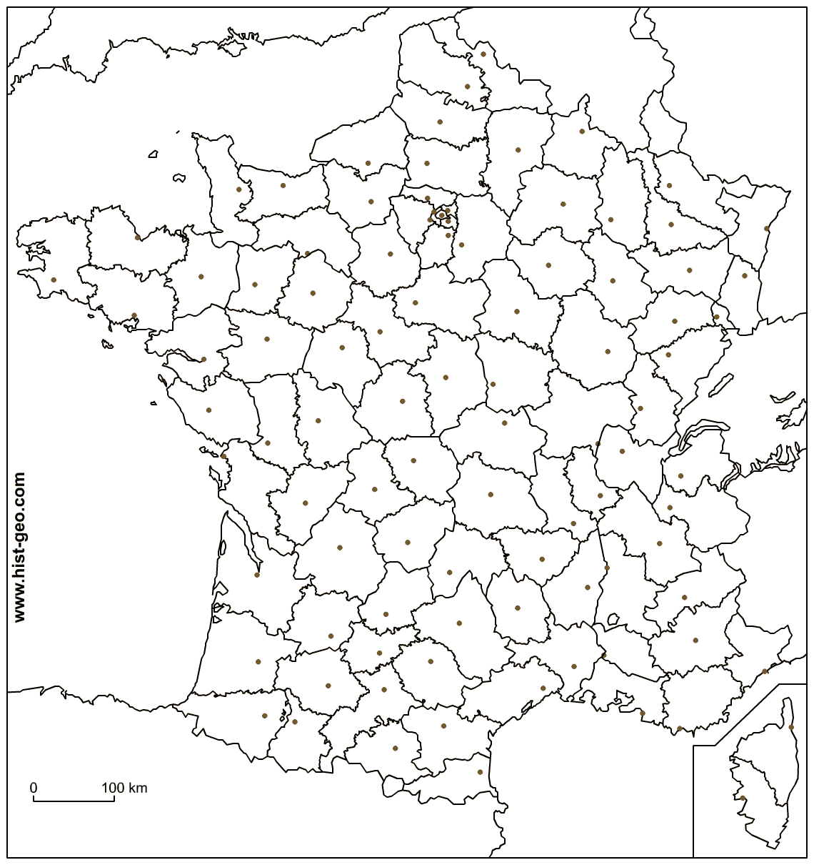 Outline Map Of France With French Departments And Local Capitals concernant Carte Ile De France Vierge