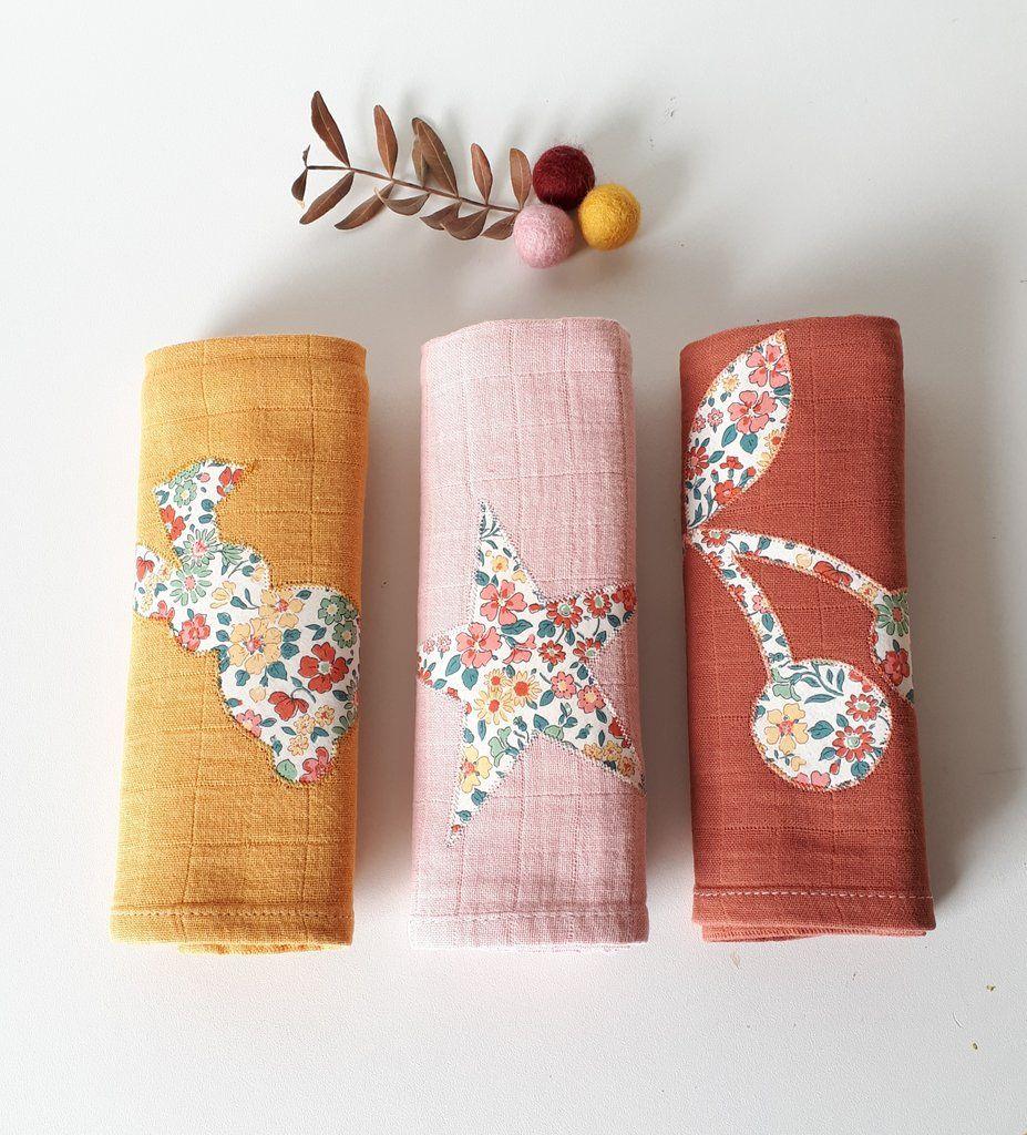 Pack De 3 Langes En Coton Brique, Rose Poudré, Moutarde Et dedans Brique Pour Bebe