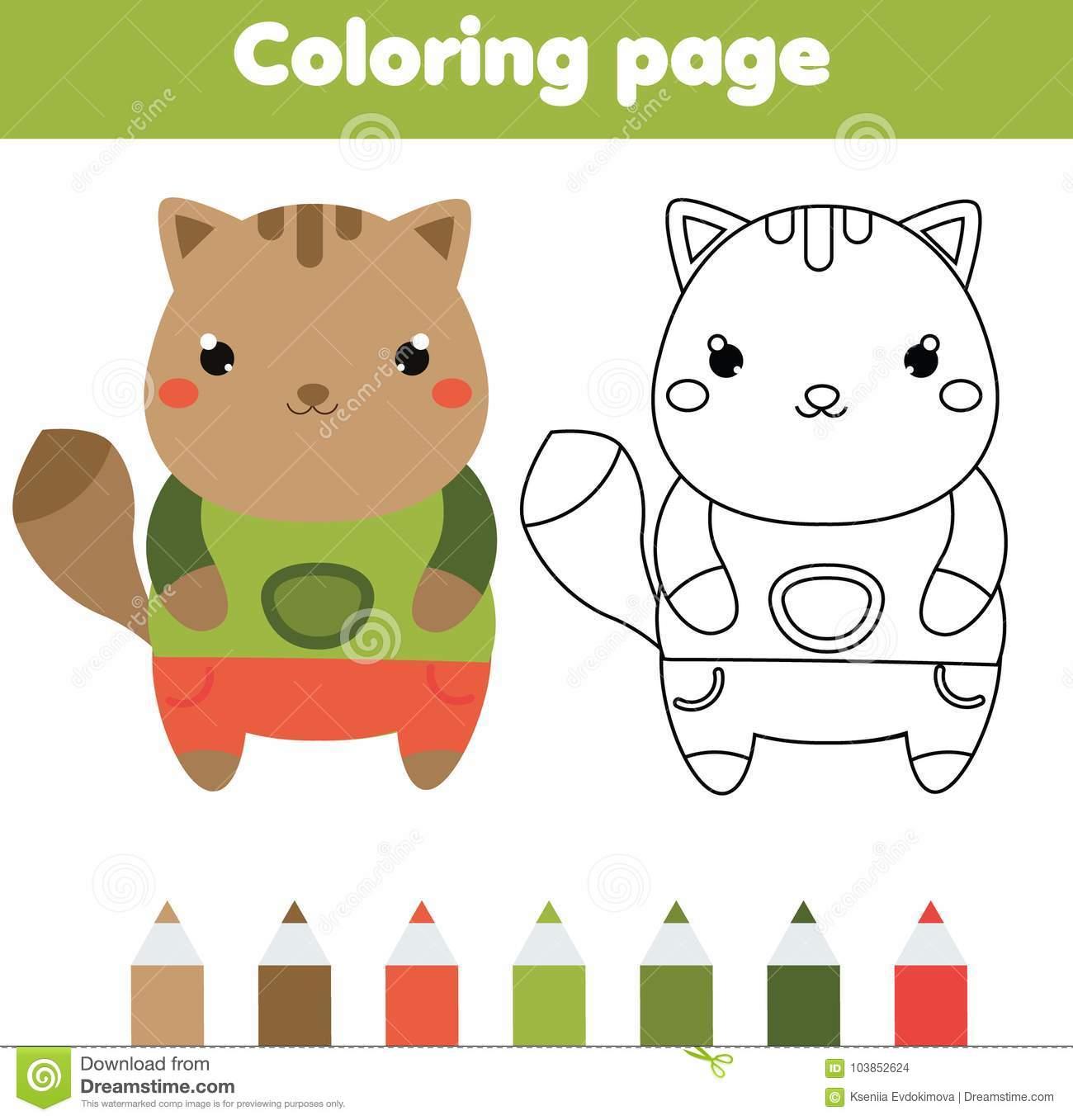Page De Coloration Avec Le Chat Le Dessin Badine Le Jeu pour Jeux De Dessin De Chat